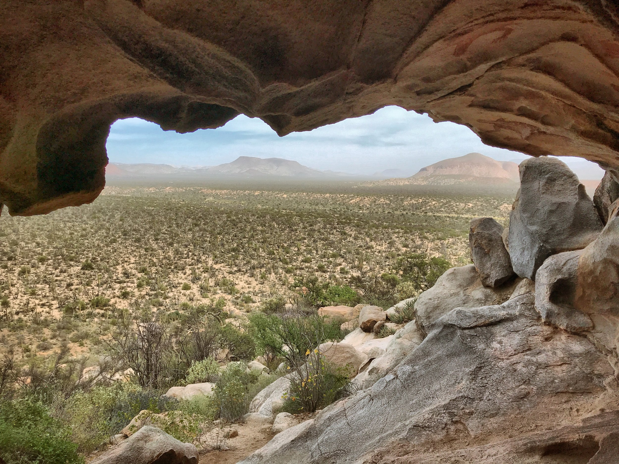 The view looking out of the petroglyphs cave.