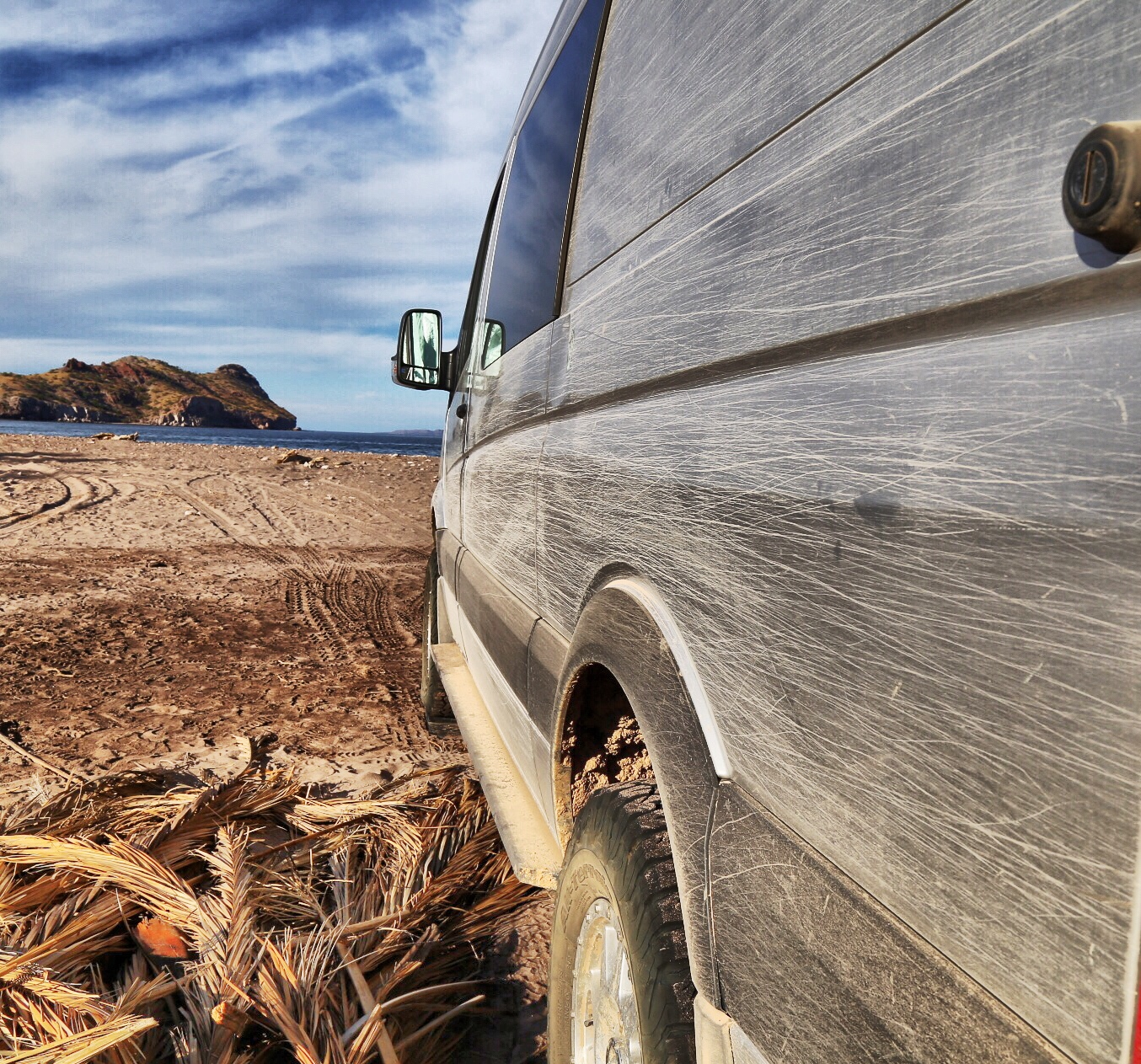 Most dirt roads in Baja are narrow with all kind of thorny branches. Don't take backroads if you value a nice paint job.