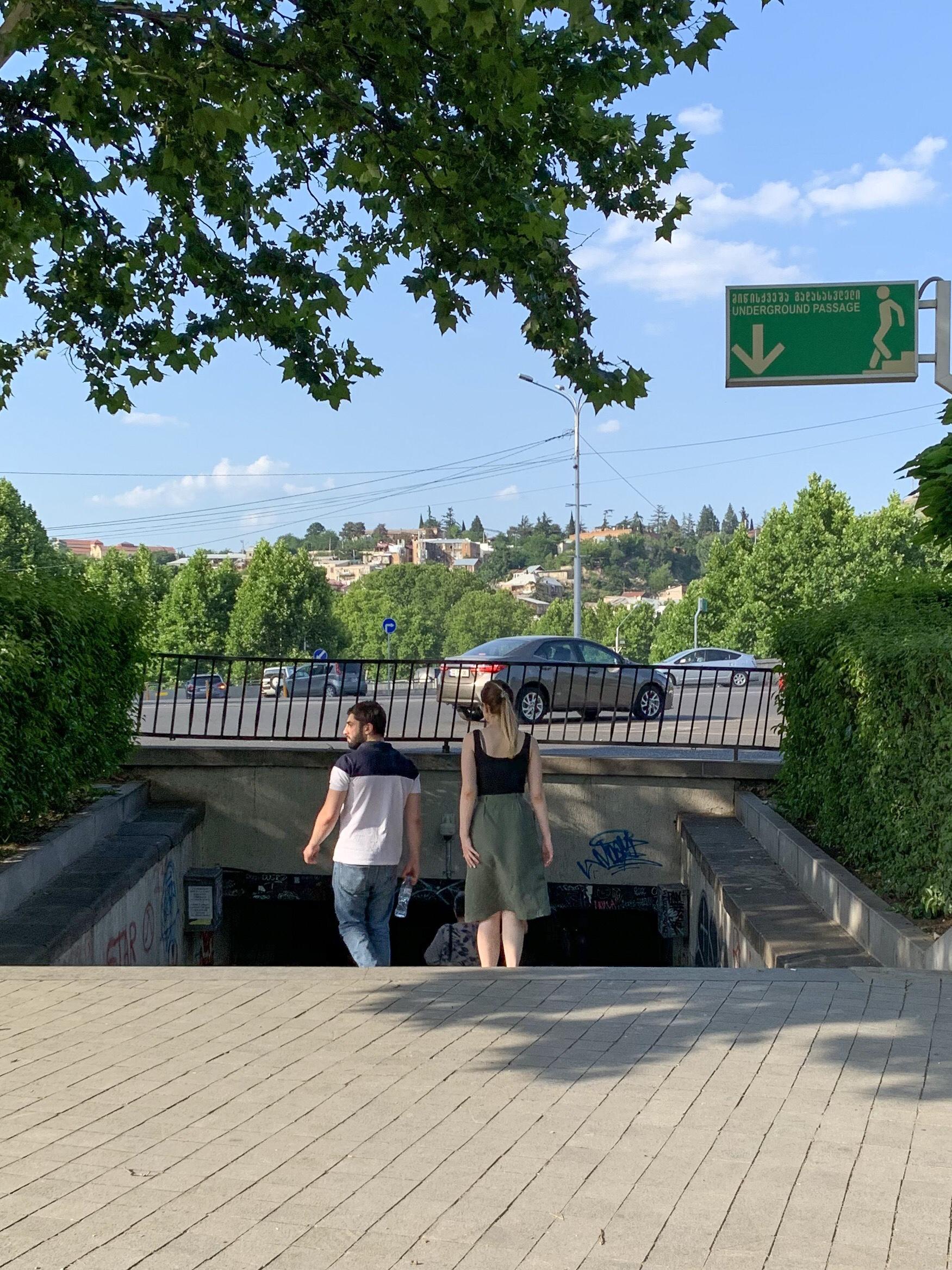 Entering a pedestrian underpass, Tbilisi, Georgia