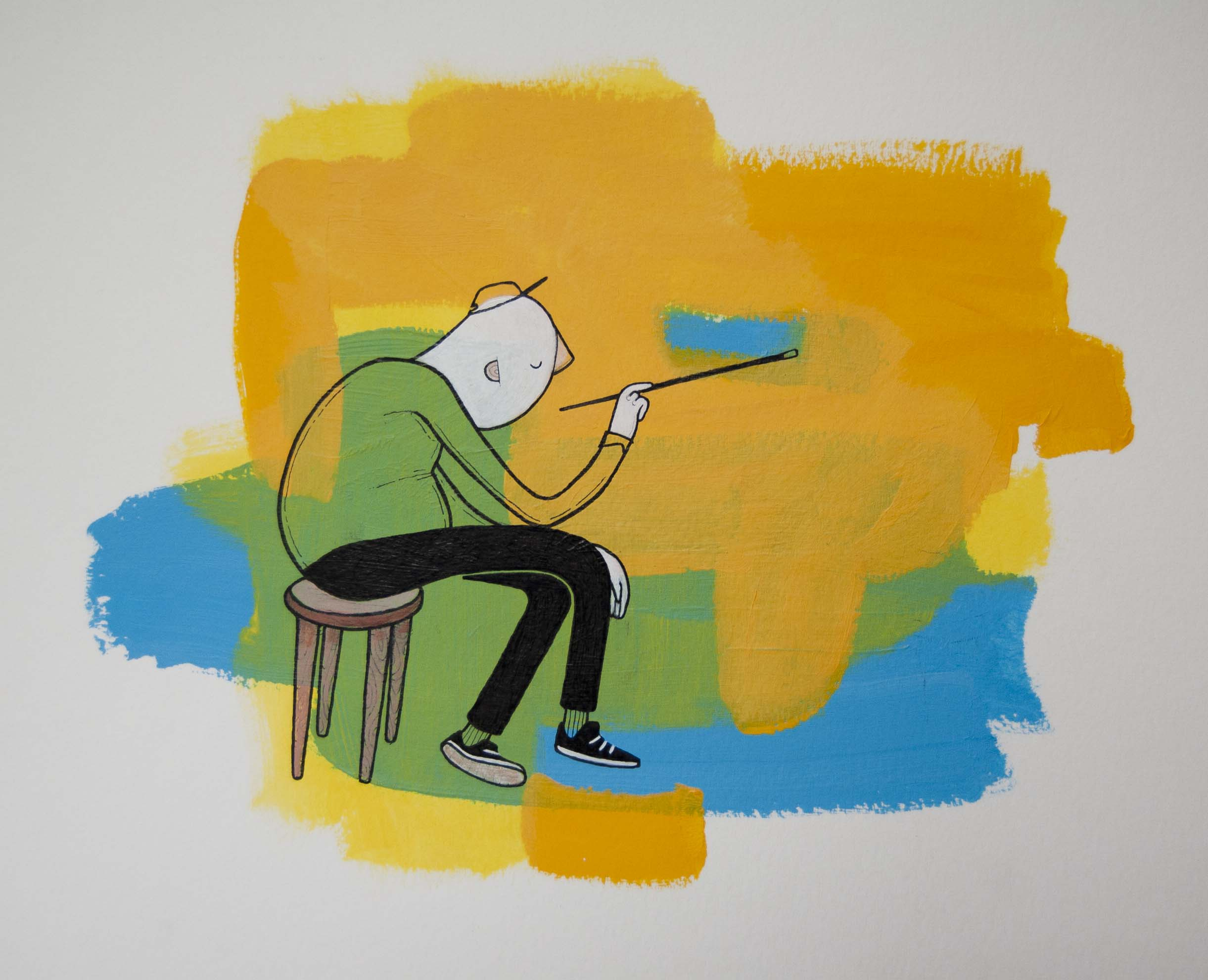 The Painter (II), 2013 Ink and Acrylic on Paper