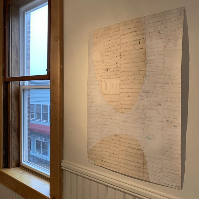 "Susan Smereka, Outer Gate, Sewn old book pages and mixed media on paper, 42 30"", $1200. PANGS: Ali Palin, Misoo, Susan Smereka is open 11-5pm, Tuesday-Friday. Stop in!"