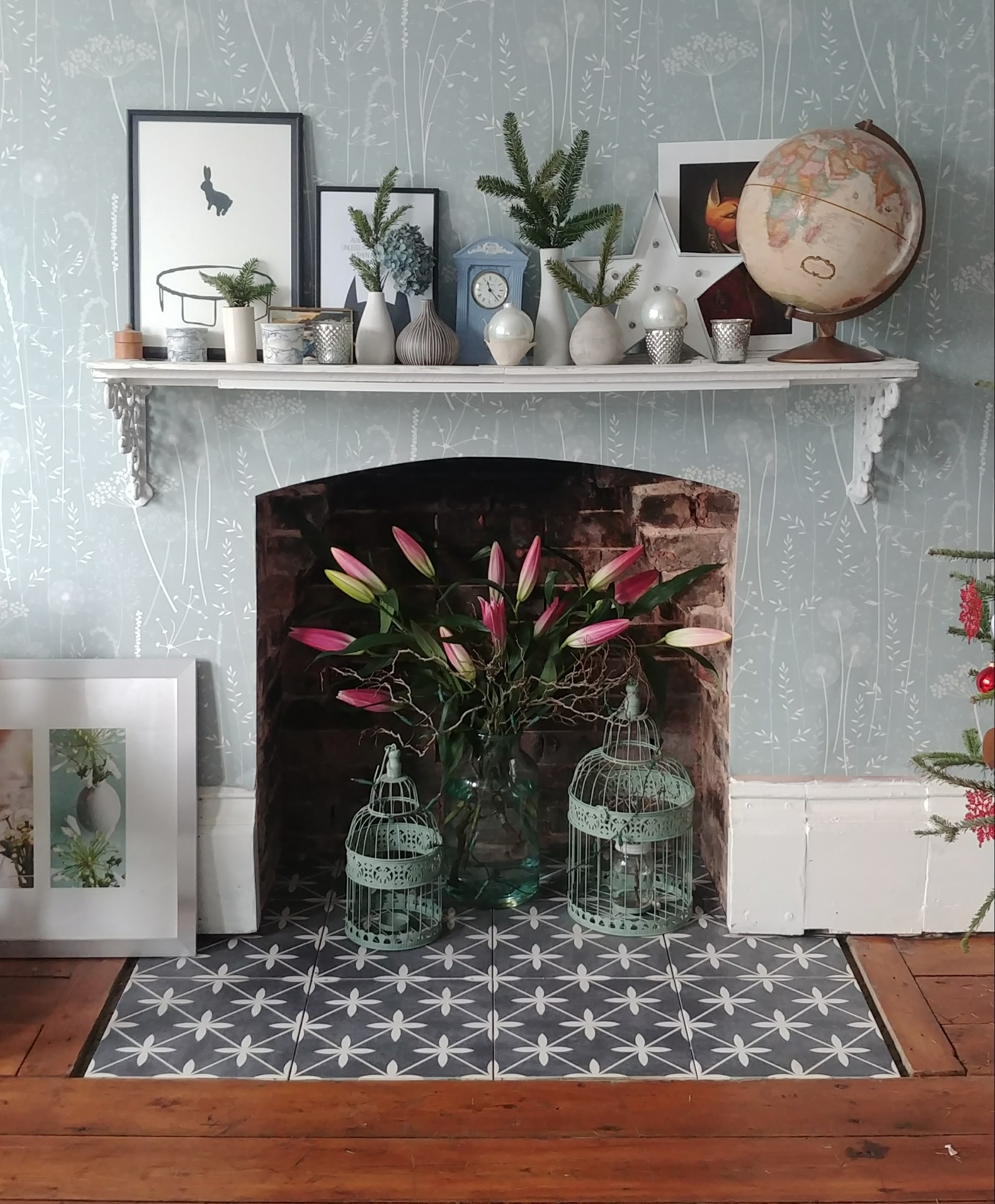 DIY wallpaper, fireplace removal and making good, floors, tiling, and mantelpiece.
