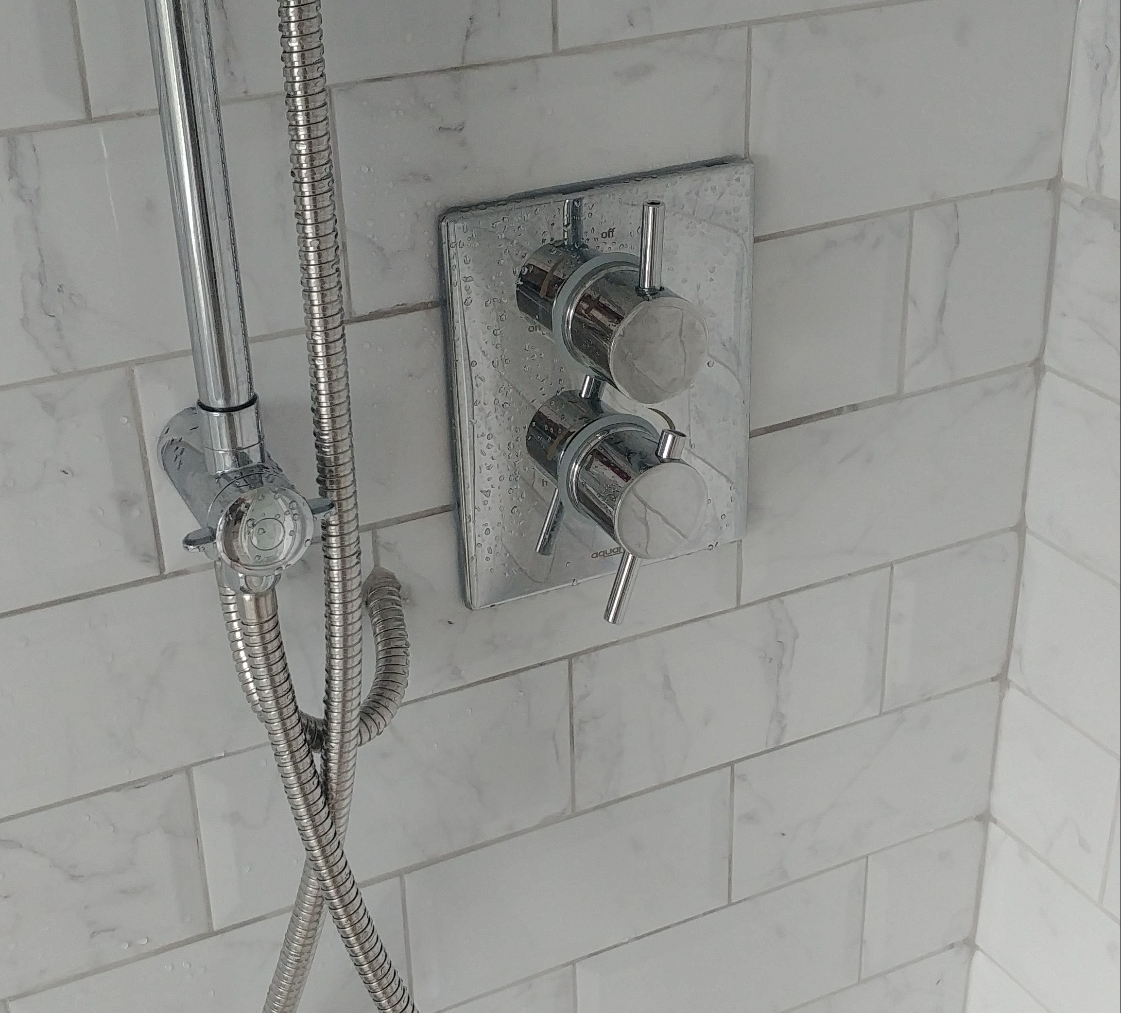 Thermostatic shower controls.