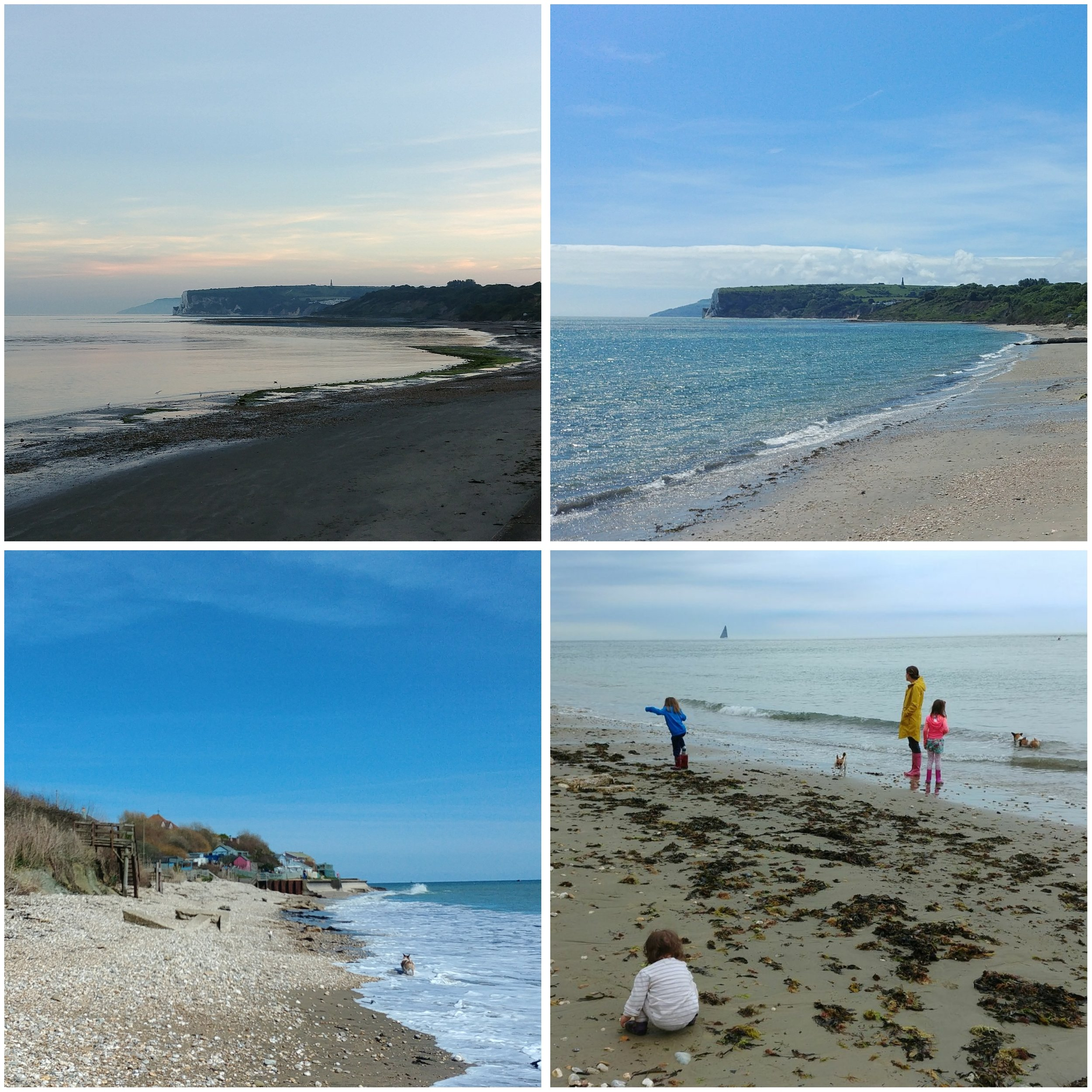 Forelands Beach at various times of day.
