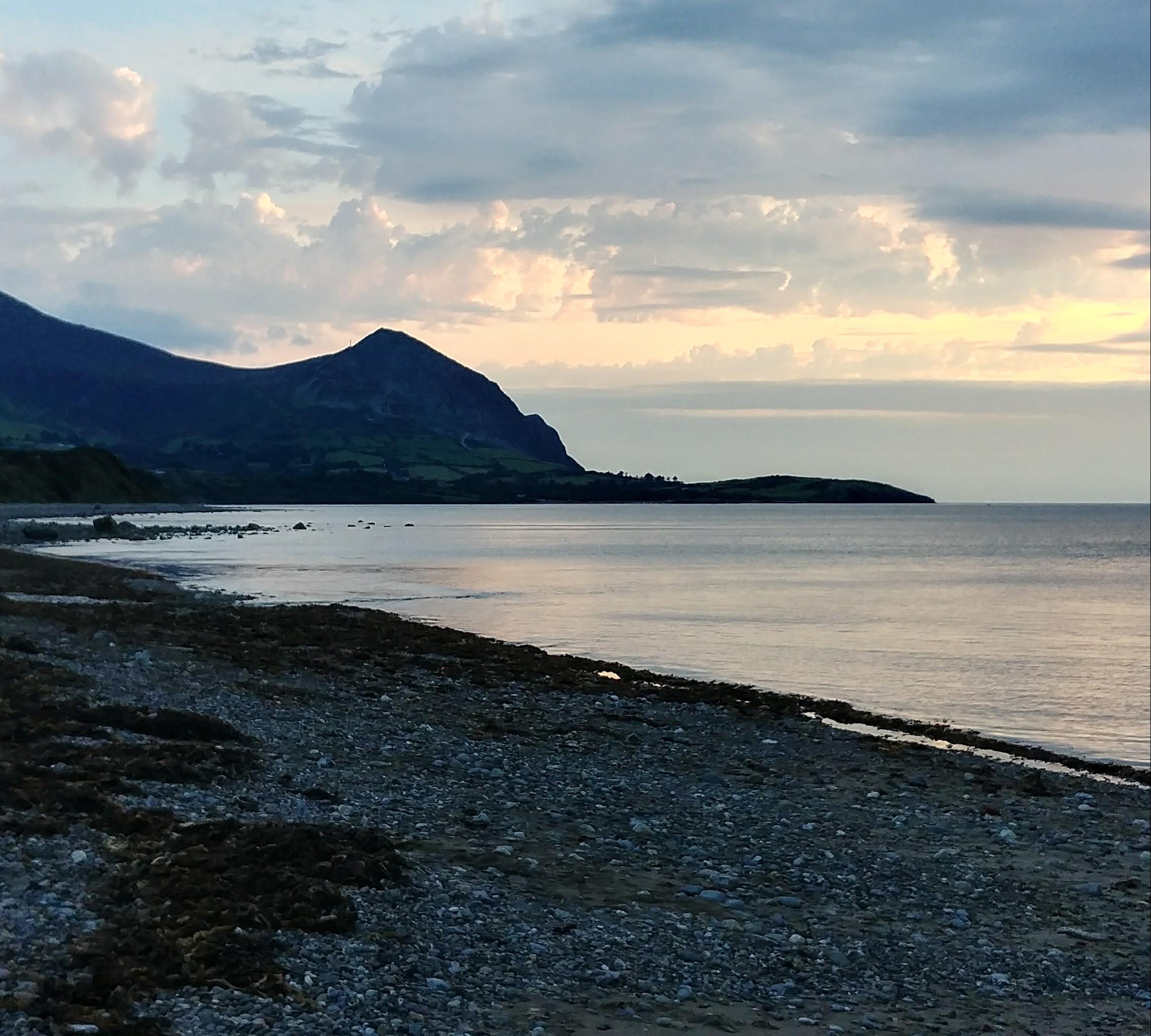 Aberafon beach at dusk.