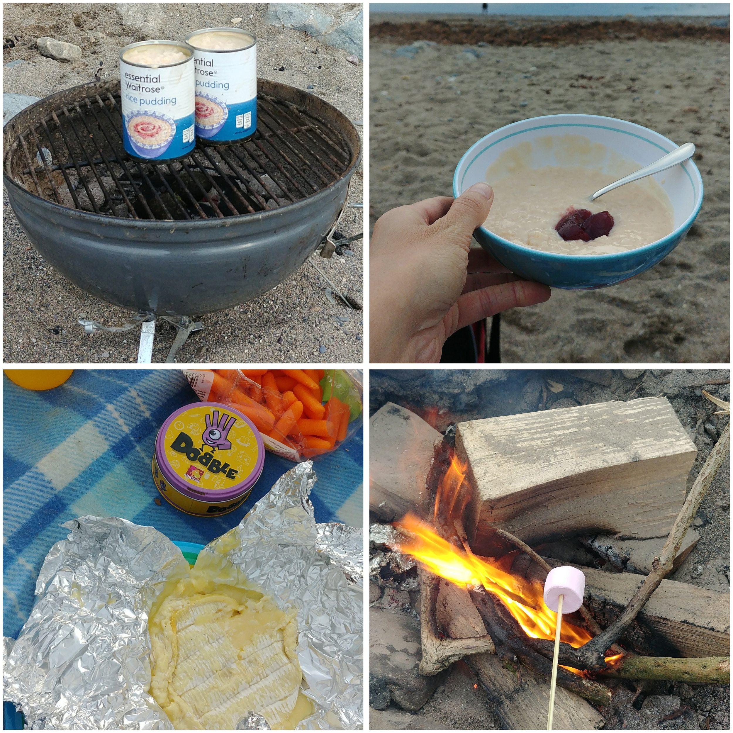 Waitrose rice pudding (obvs), camembert and marshmallows cooked on the beach.