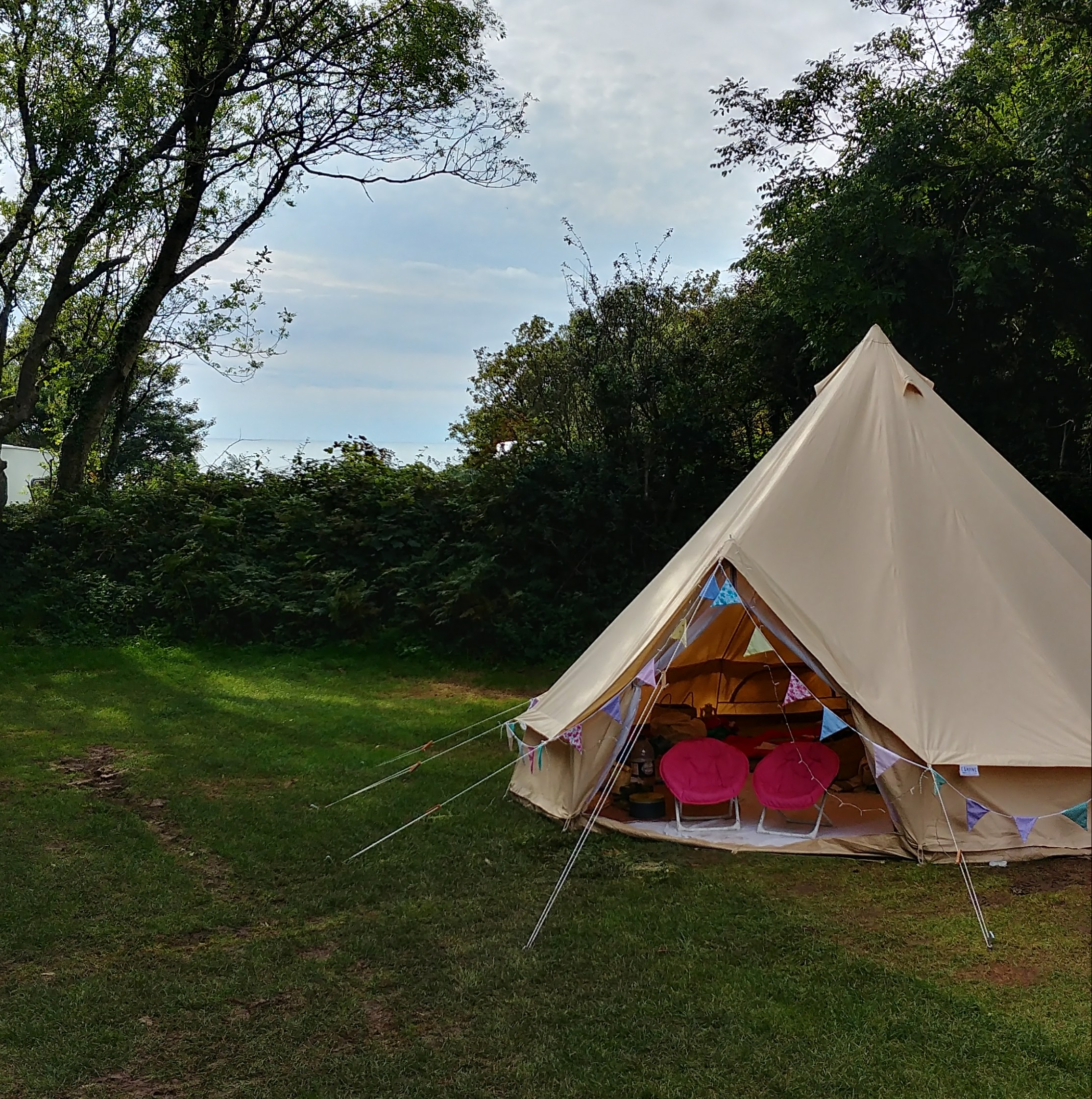Back at Aberafon, this time in a bell tent with bunting.