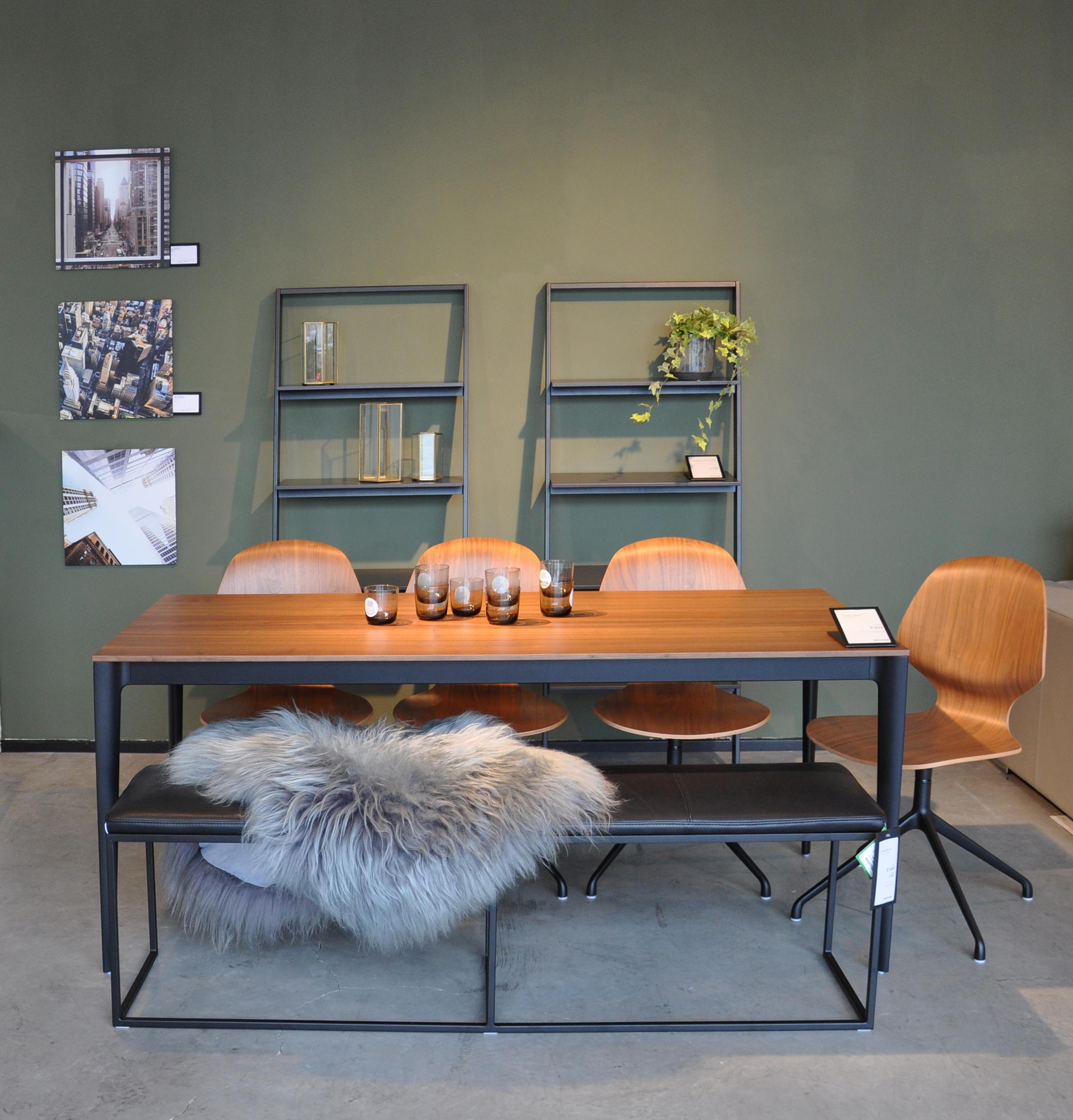 Sheepskin ,  Torrino table ,  Florence chairs ,  Hexagon lanterns  on  Bordeaux shelving units .