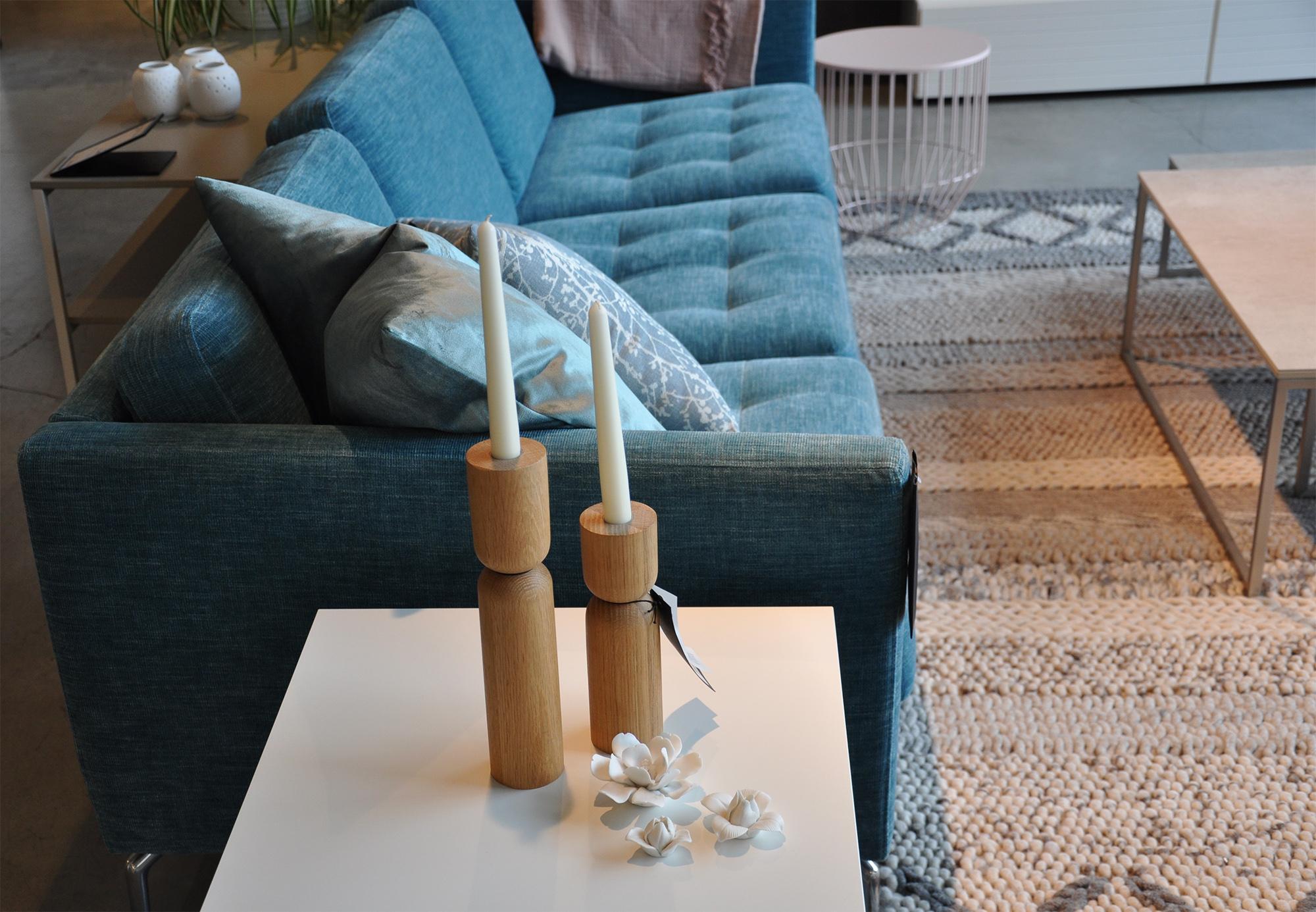 Palencia rug , Up & Down candlesticks,  Osaka sofa  in turquoise Napoli fabric