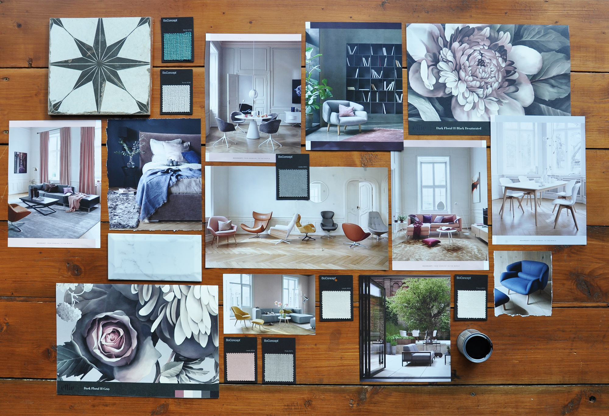 All images taken from the BoConcept catalogue, other than the two large-scale floral wallpaper samples. Star and faux marble tiles are from projects in our house.