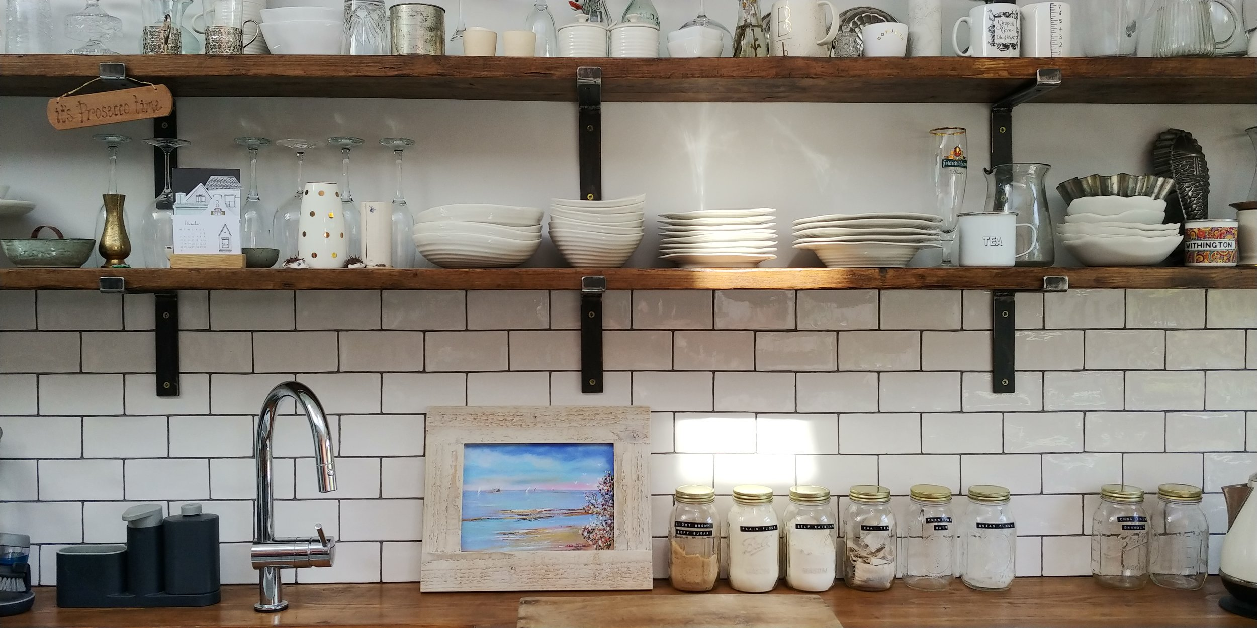 Our shelves looking pretty in the morning sunshine.