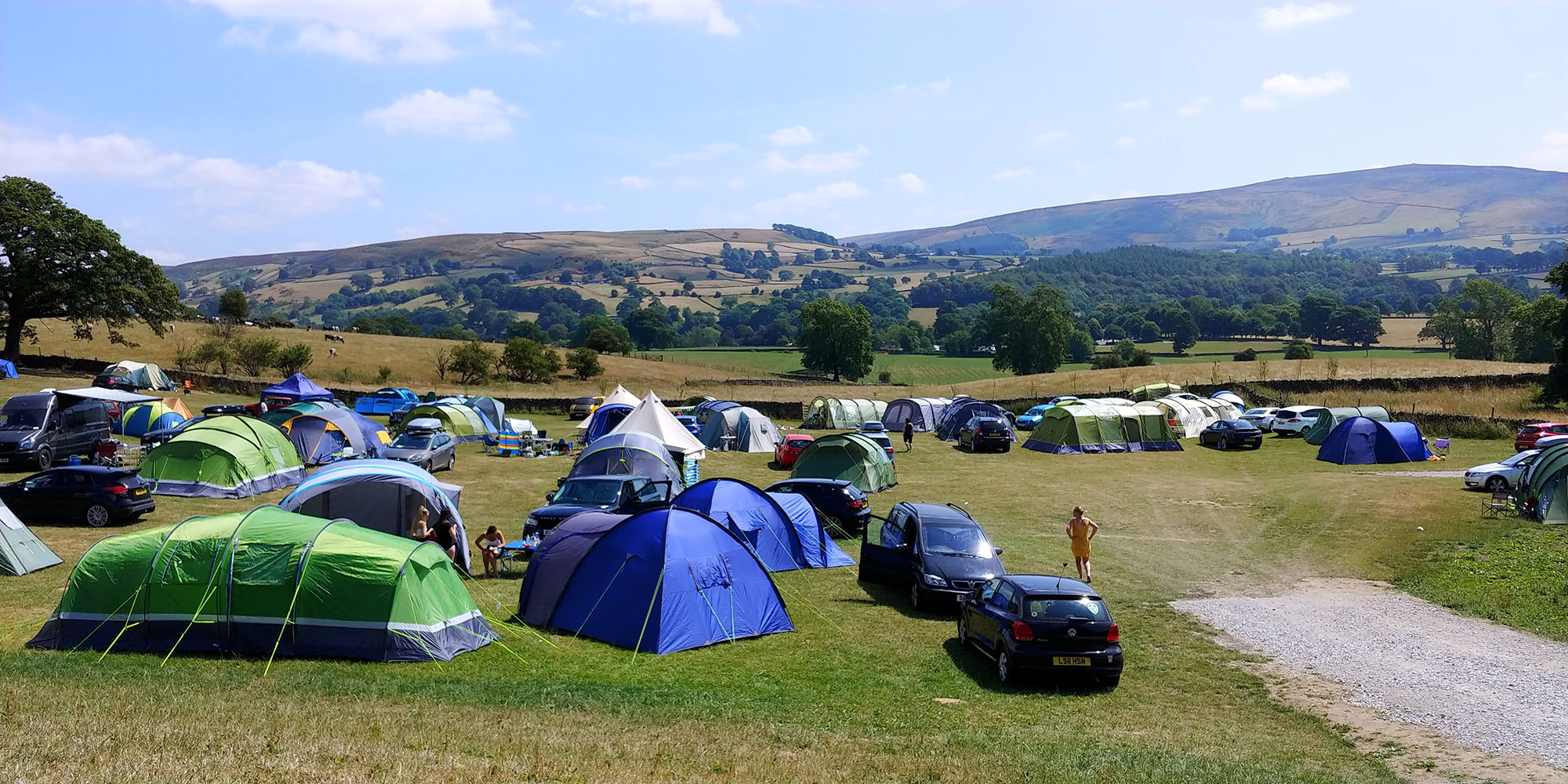 Camping at Catgill near Bolton Abbey. Spot our pretty bell tent…