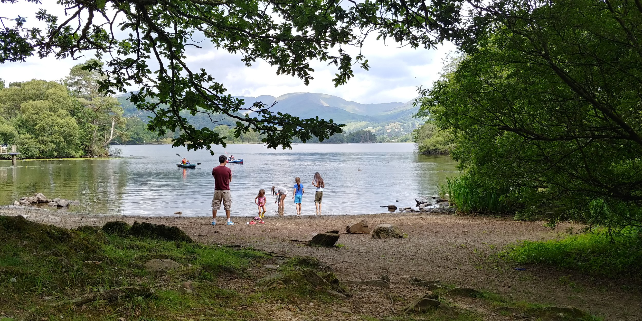 The lake shore about 15 metres from our woodland pitch.