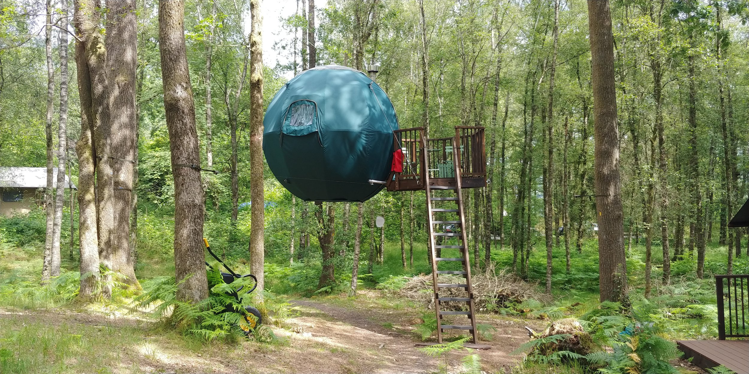 Suspended camping spheres.