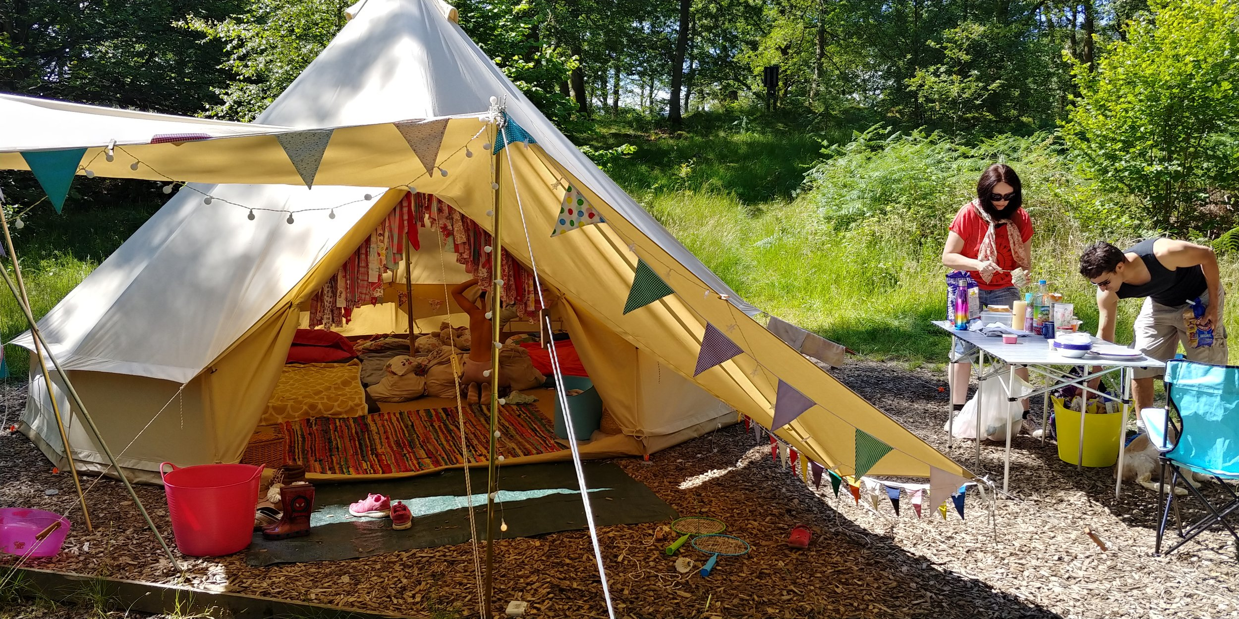 Bunting and fairy lights.