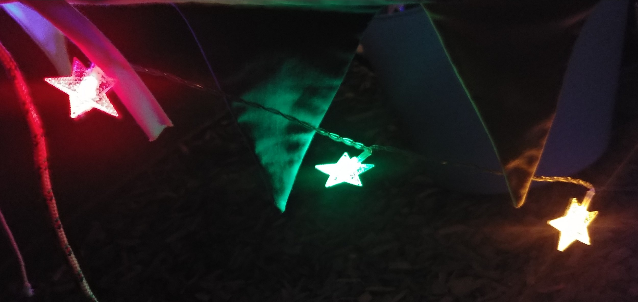 Battery operated fairy lights as the night drew in.