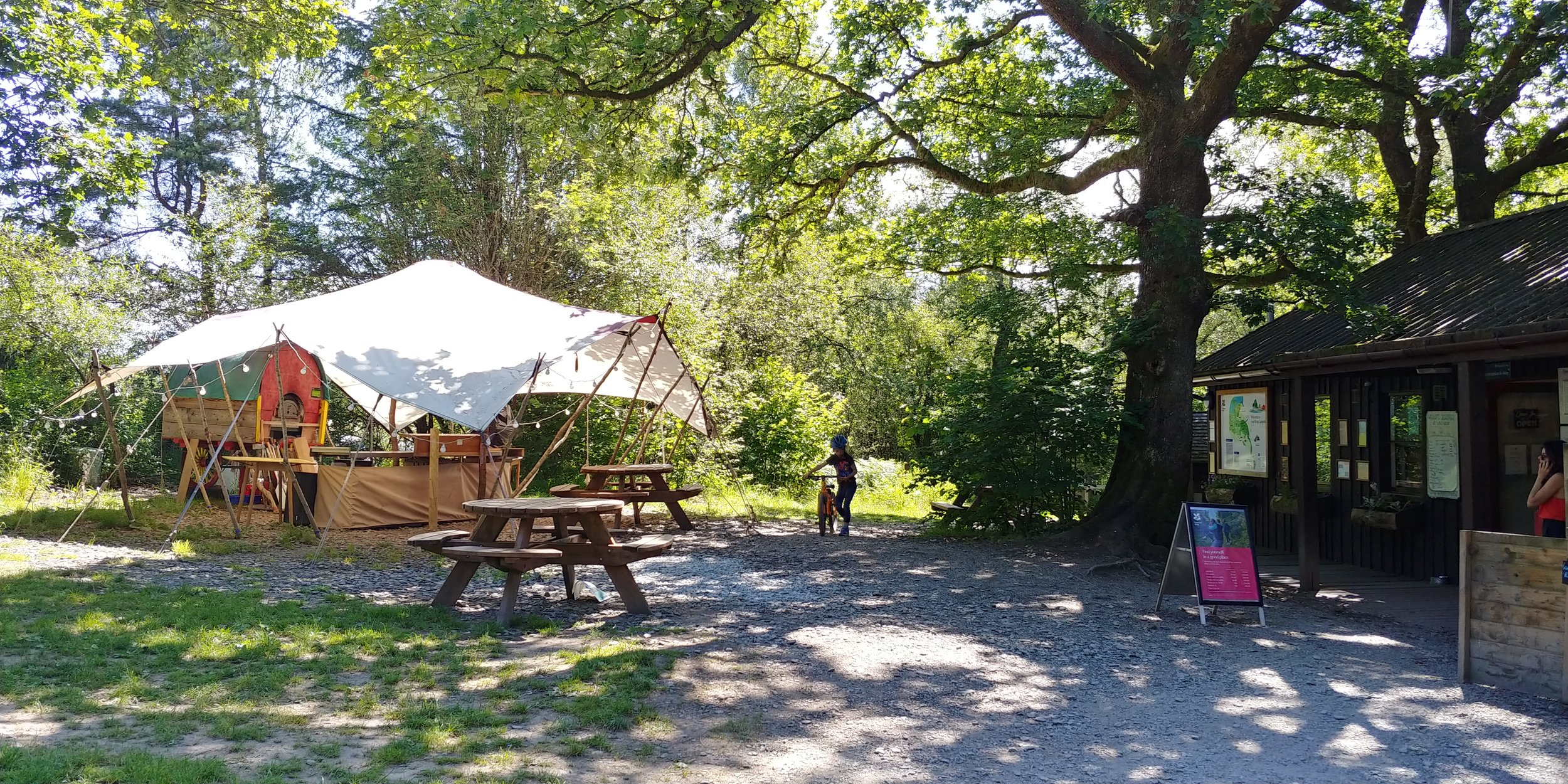 Low Wray reception and shop on the right. You can freeze ice packs in the little freezer outside.