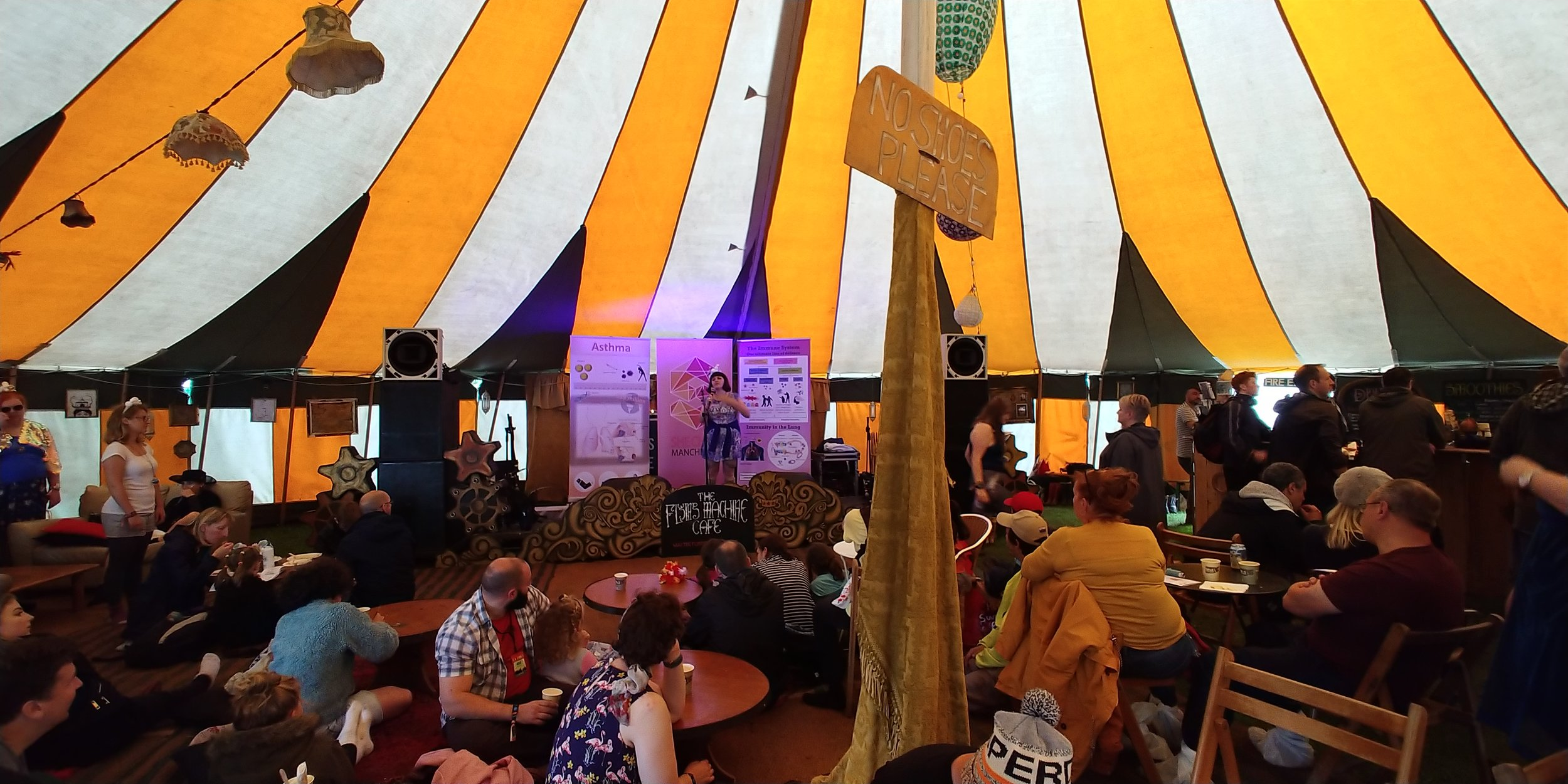 Acapalla singing on the Notes stage. I loved the decor of this tent.