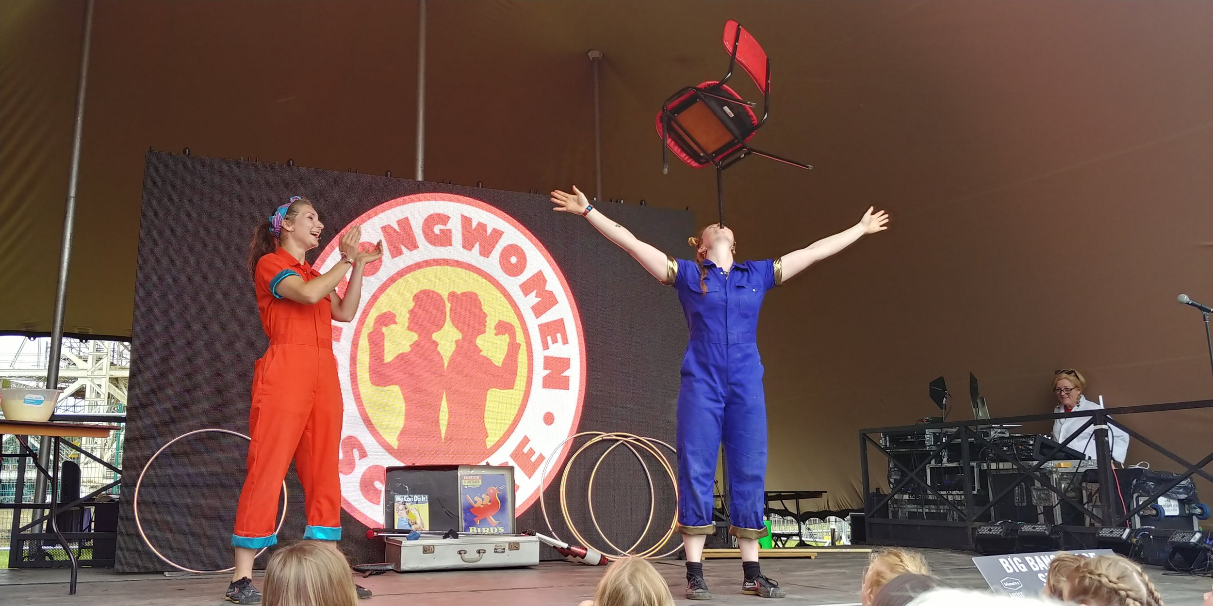 Strong Women Science demonstrating the centre of gravity.