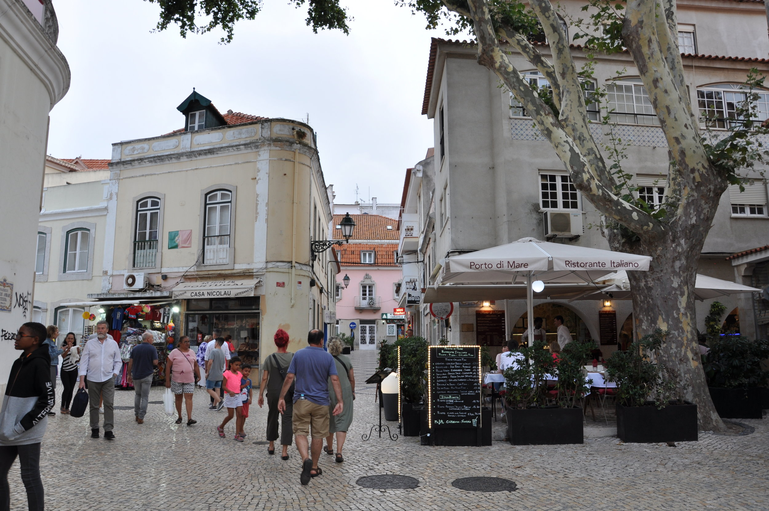 Cafes and tourists in the old town.