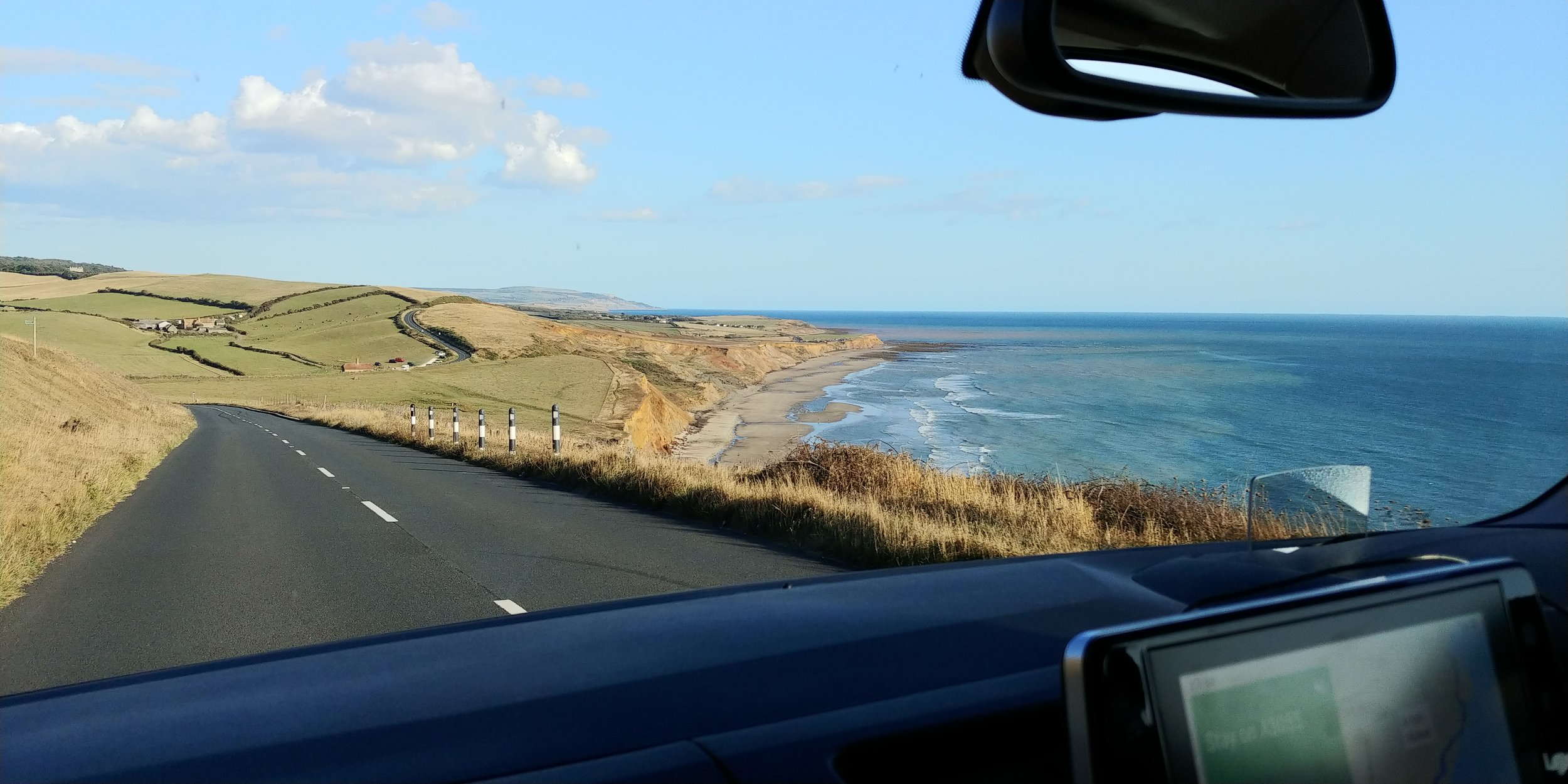Road-tripping along the west Wight coast with the sat nav doing the heavy lifting.