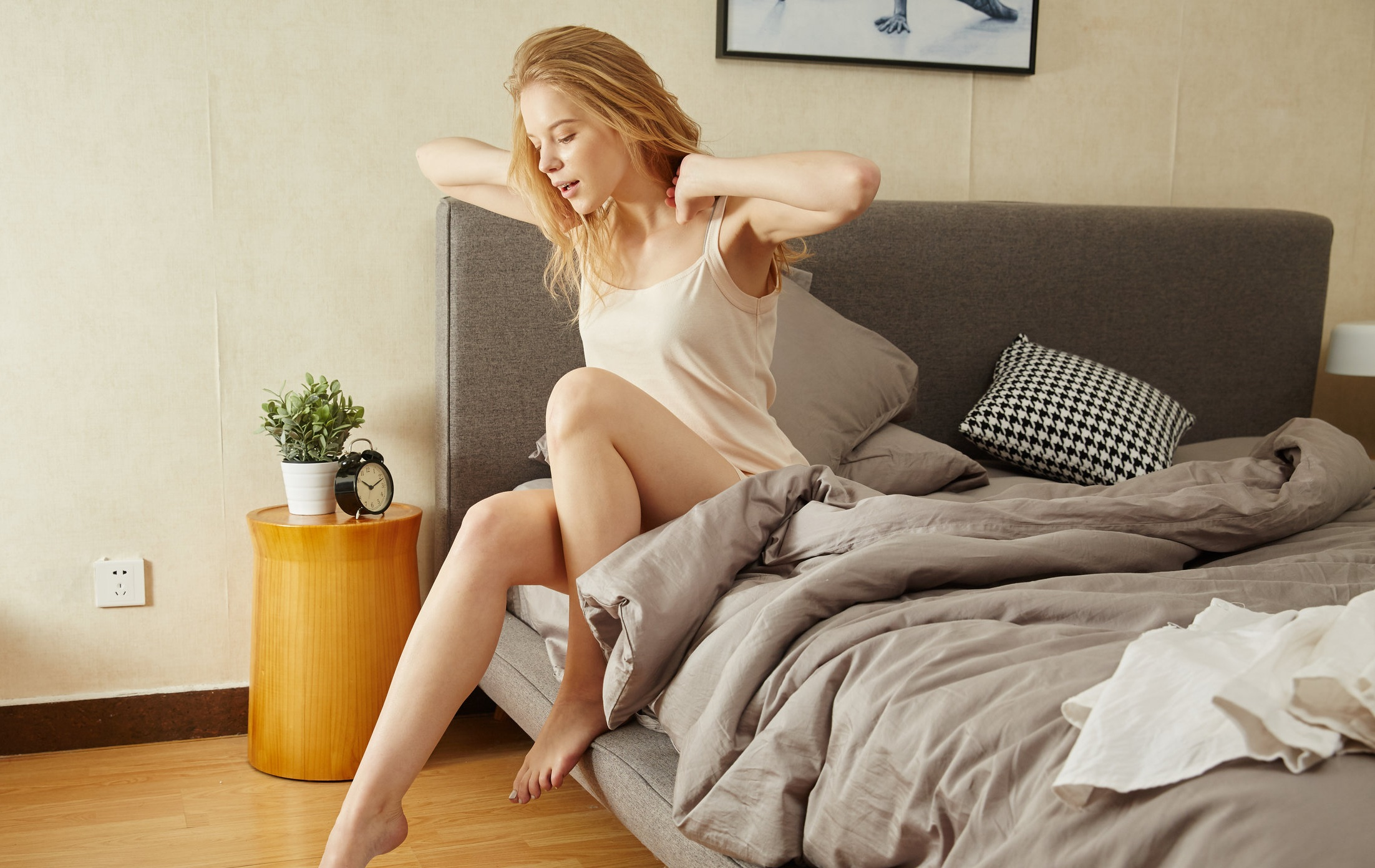 woman getting up