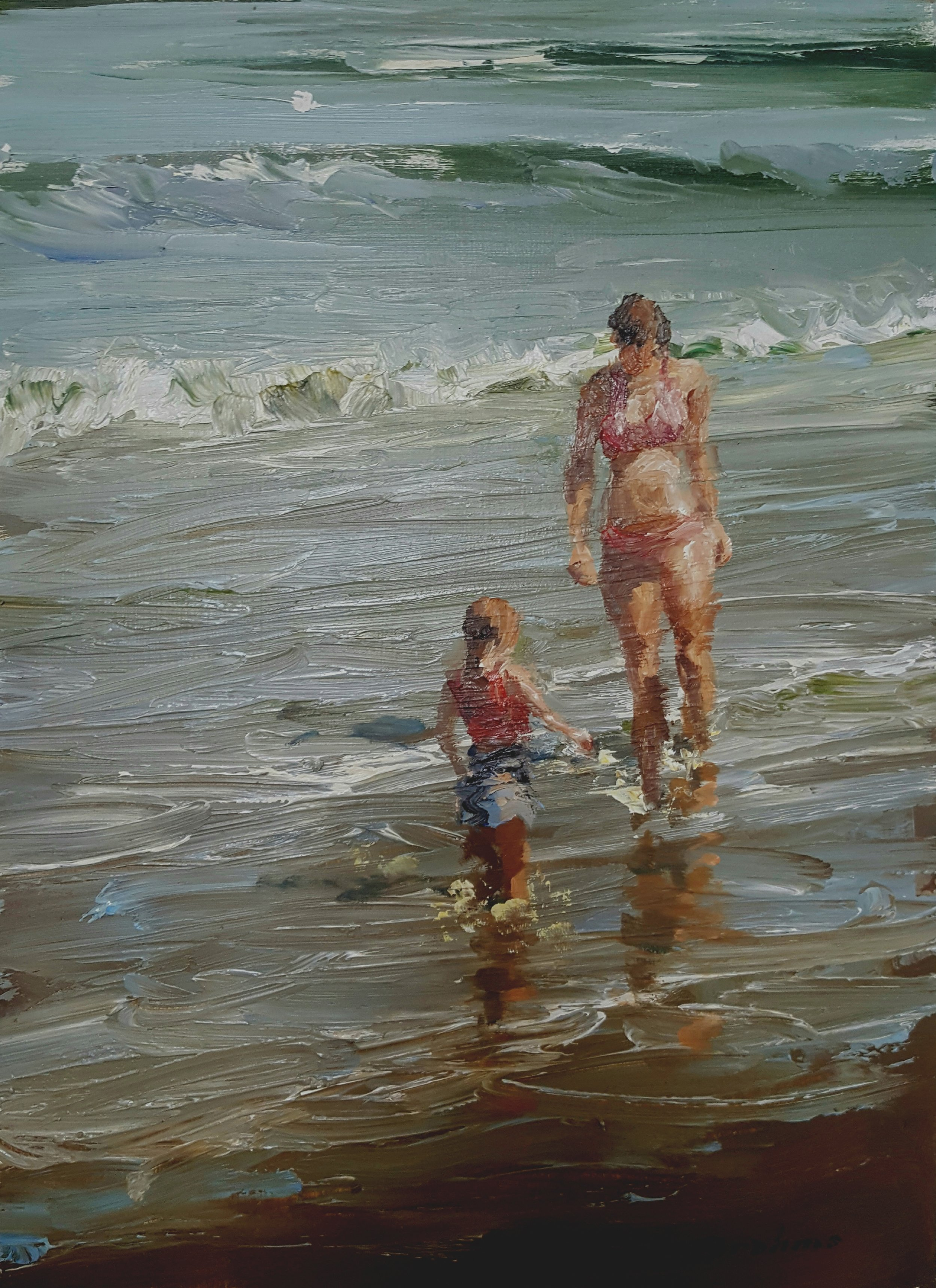 Woman and Child in the Surf