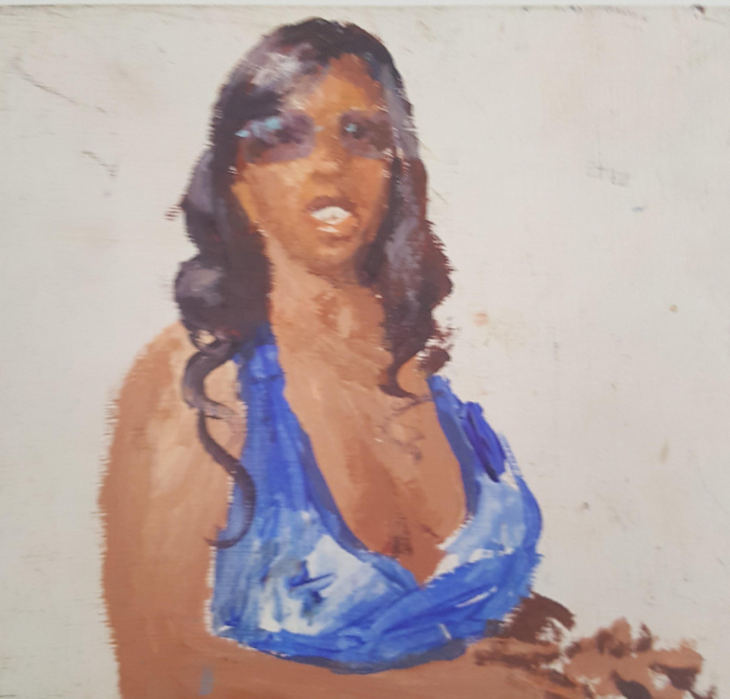 Woman in Blue Haltar