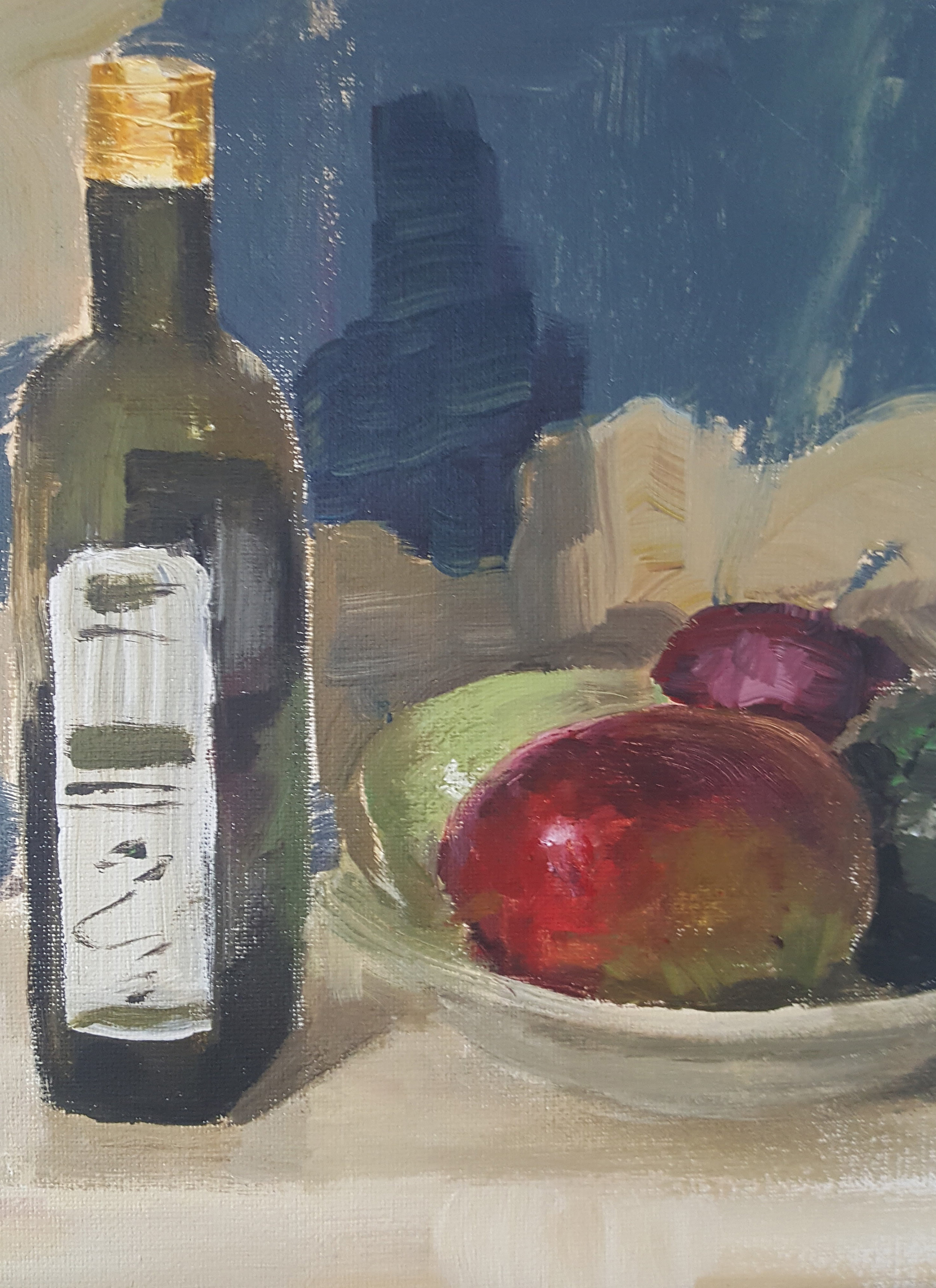 Still Life With Mango and Bottle