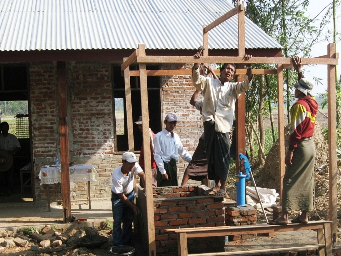 Villagers in Myanmar building their own well