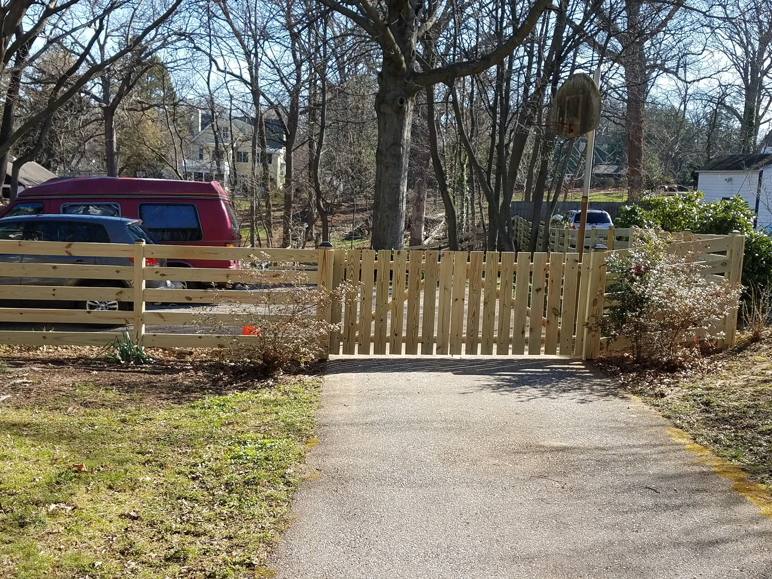 Wooden Driveway Fence