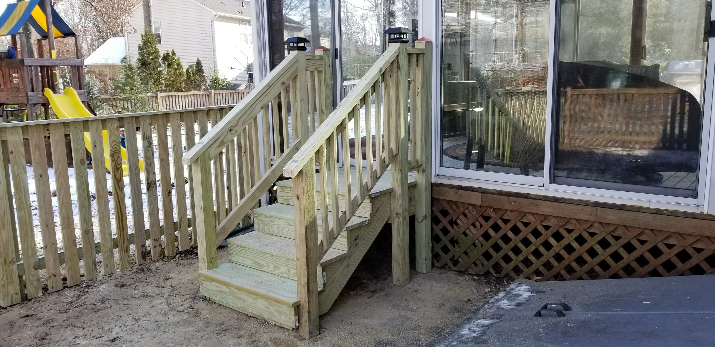 Wooden Fence with Handrails
