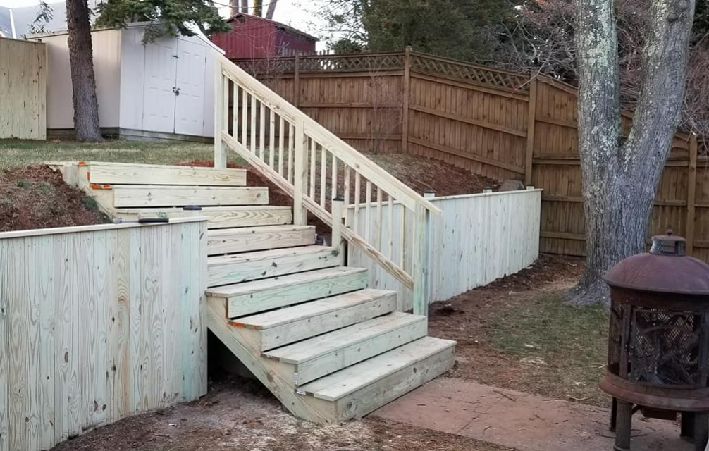 Wooden Steps up to Yard