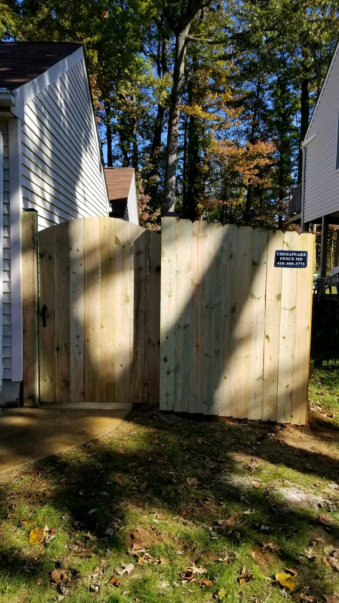 Tall Wood Fence with Gate