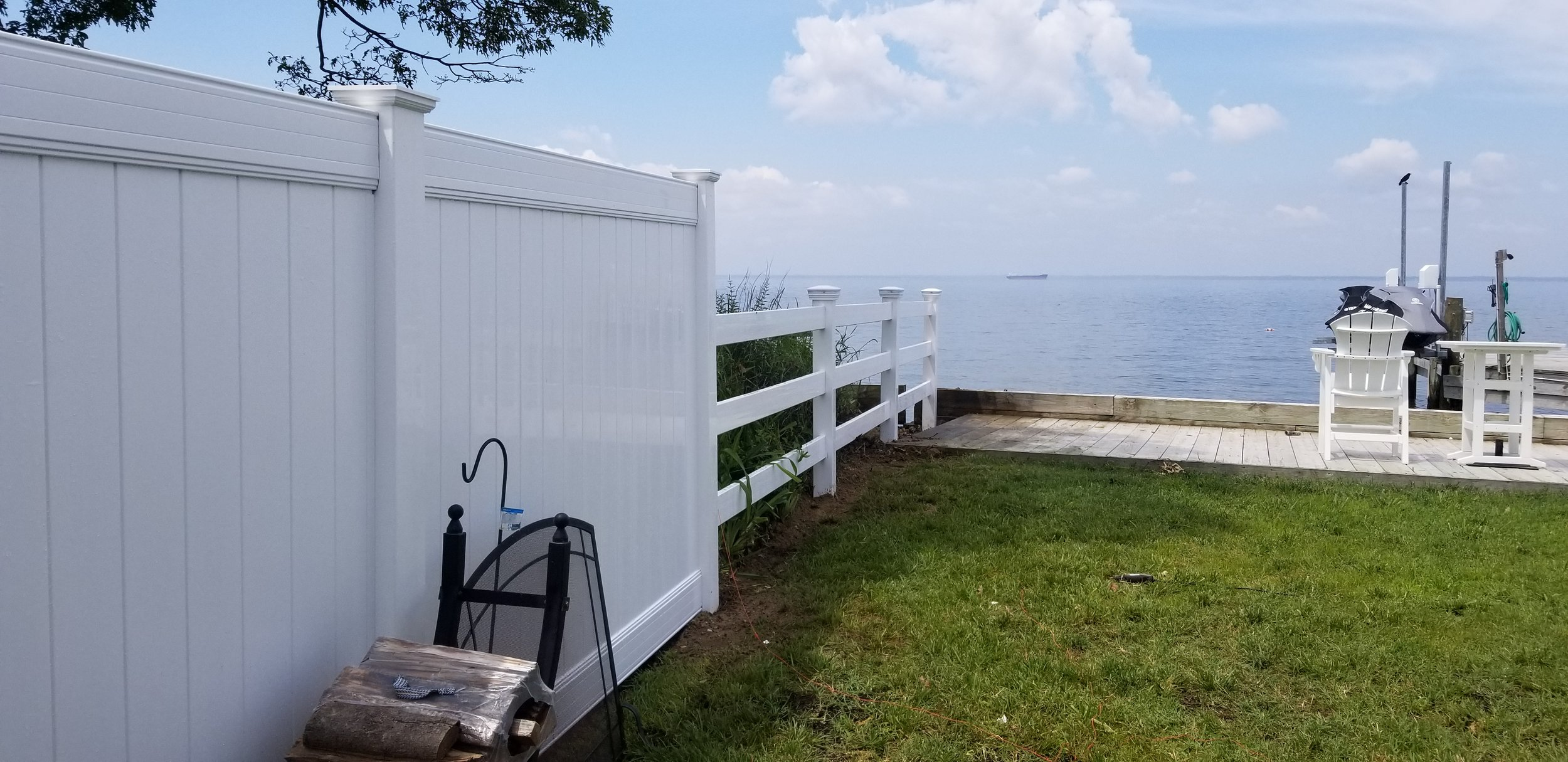 Tall, White PVC Privacy Fence