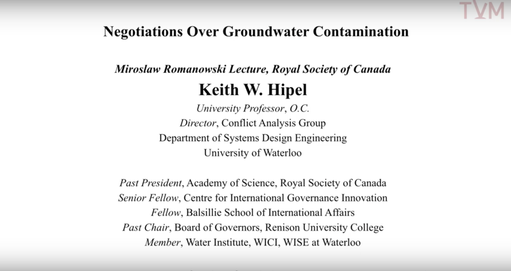 Negotiations Over Groundwater Contamination By Keith W Hipel Tvm Student Television At Mcgill
