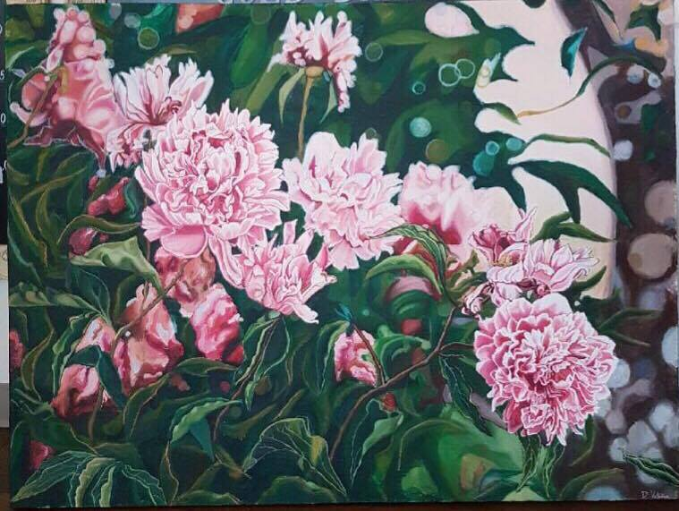"""Peonies"", 36X48, Mixed media on Canvas, Available $1400"