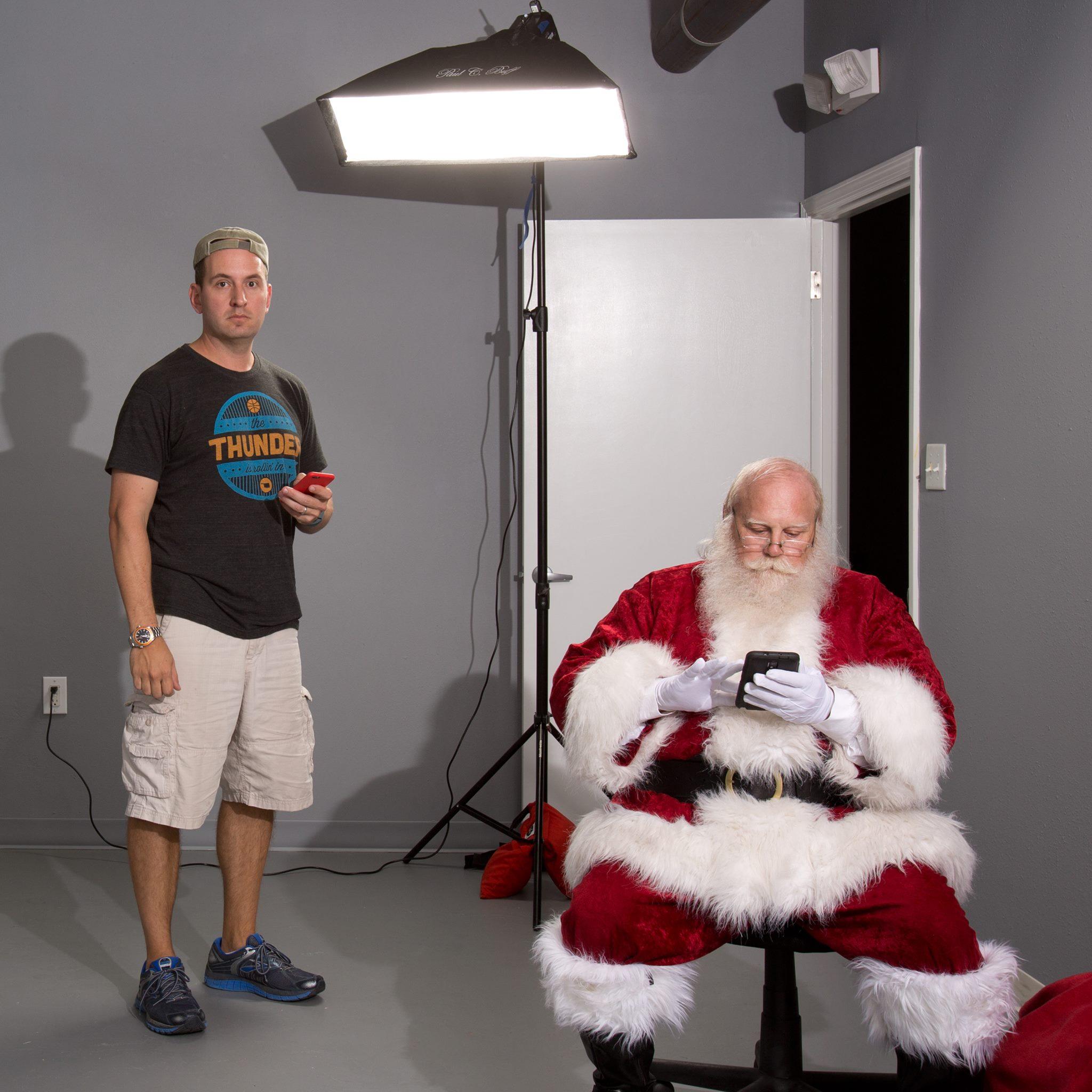 Santa, modeling for some of my  fine art work .