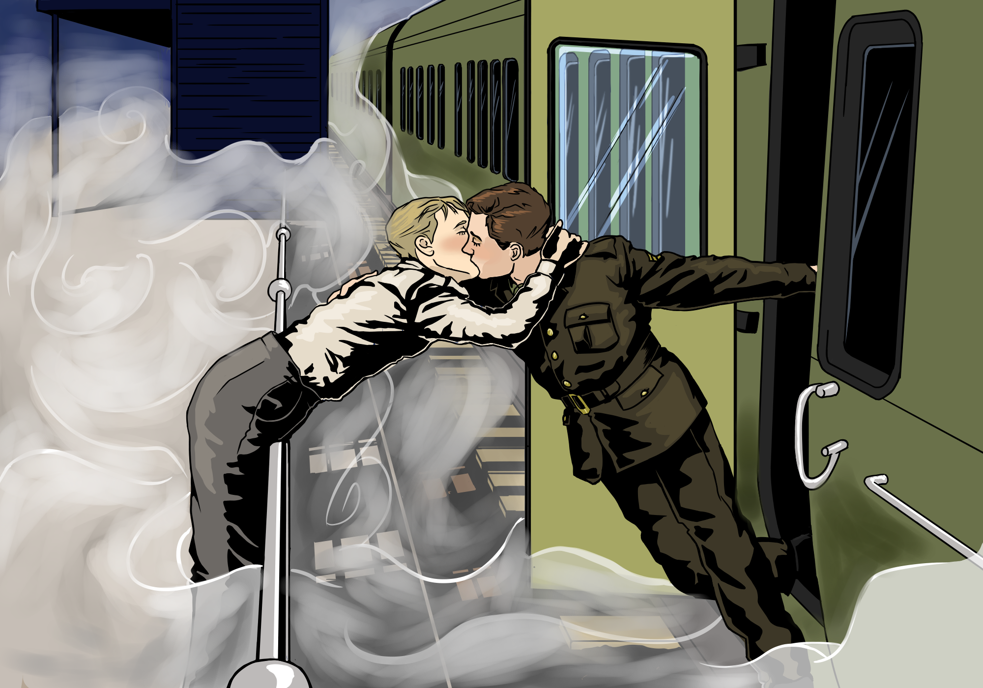 british expeditionary force soldier returning from dunkirk greeted by his girlfriend 1940 slightly more shaded i guess.png