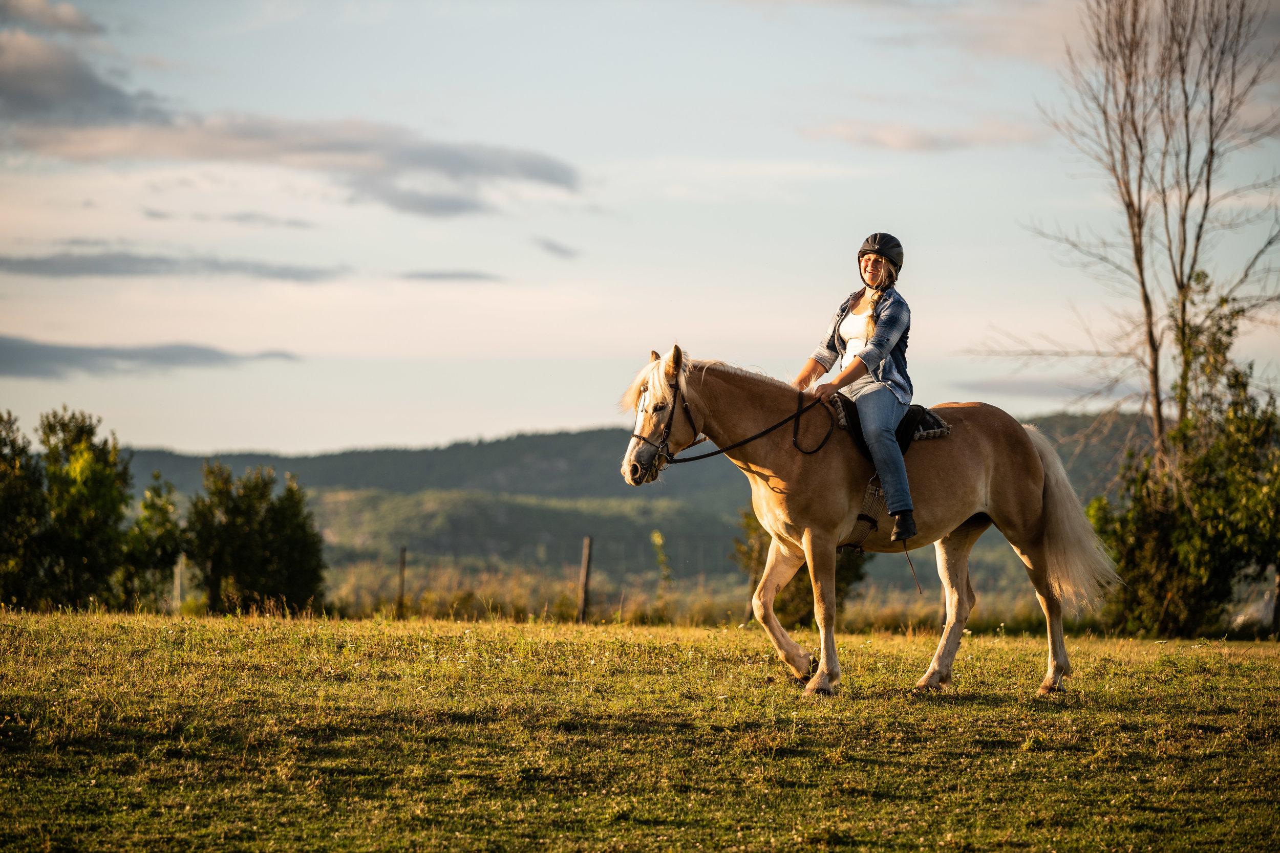Girl riding Haflinger