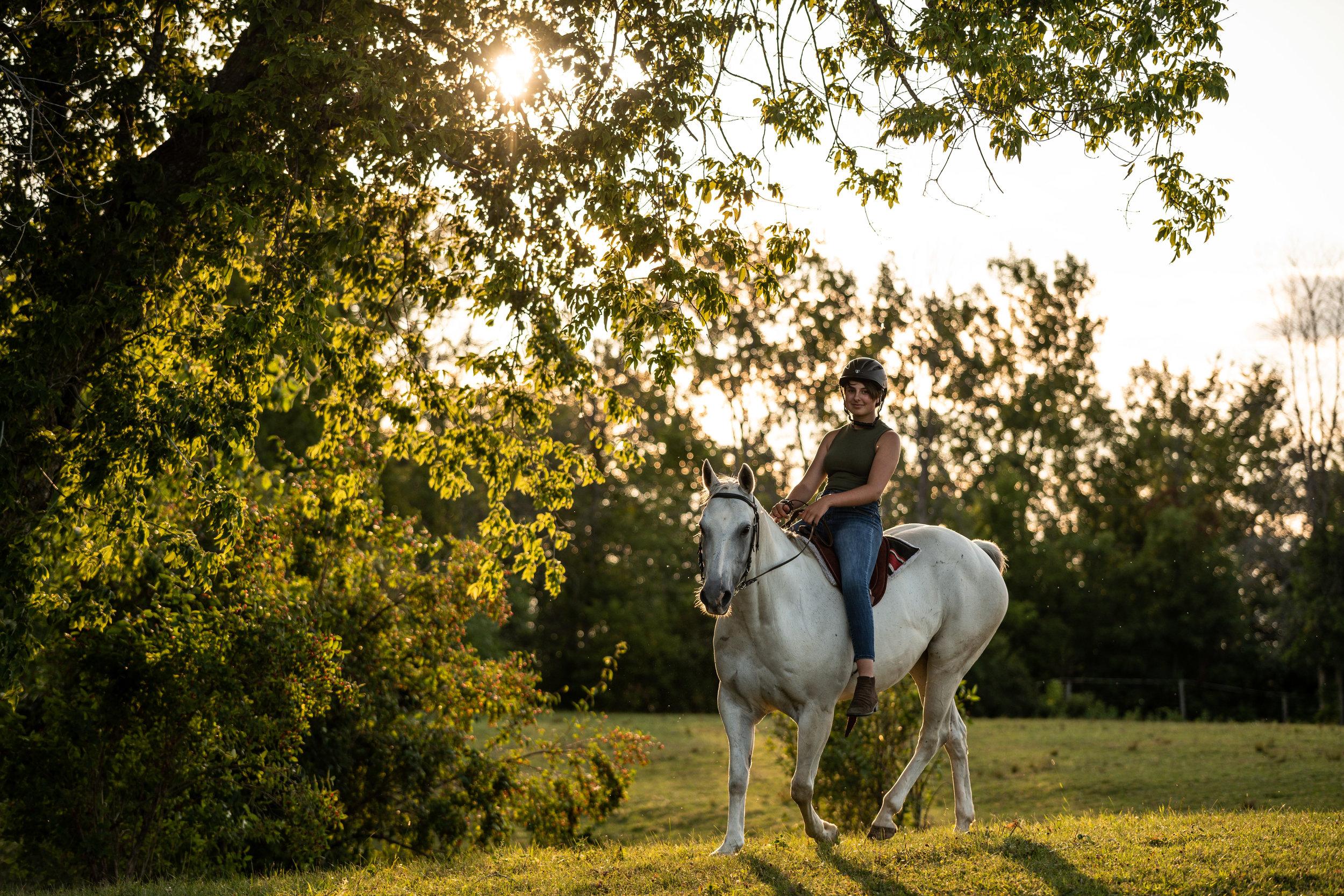 A girl riding a grey quarter horse at sunset