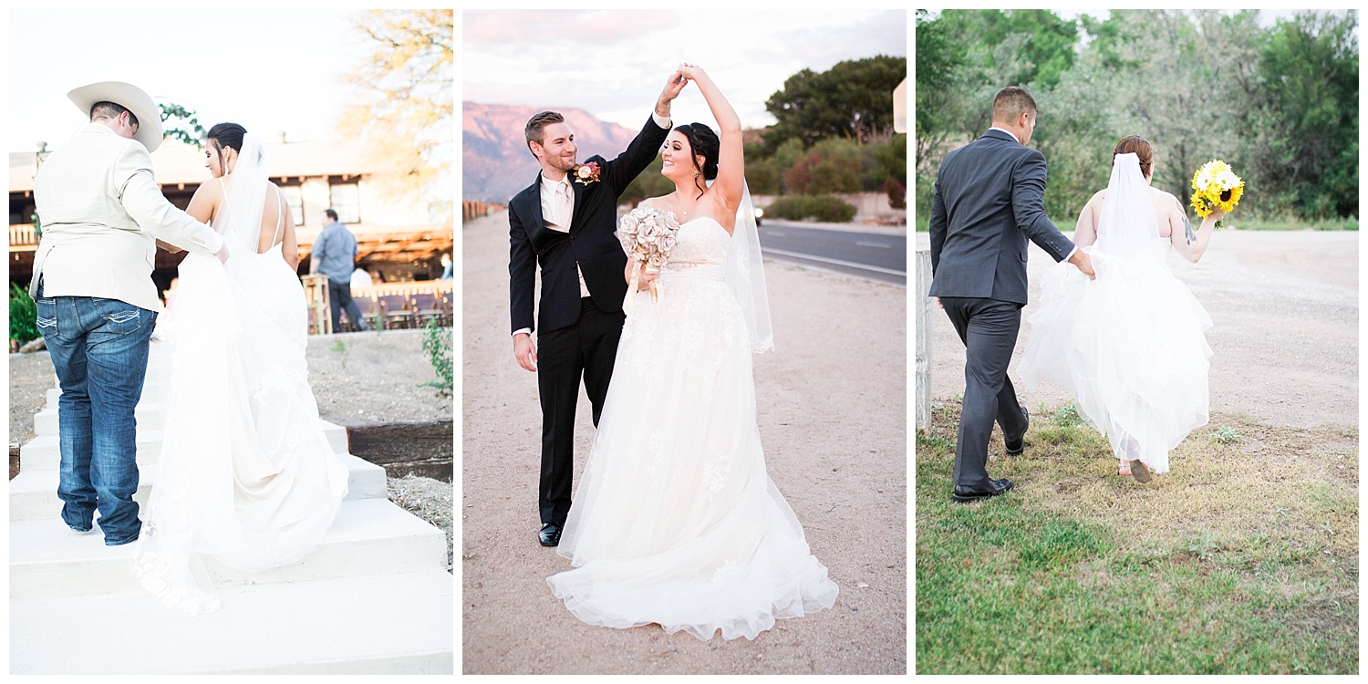 Groom walking with his bride helping her with her dress. Bride and groom dancing together.