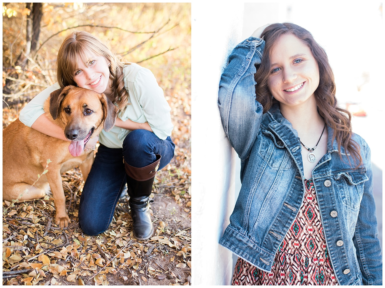 Fall senior photos with dog. Senior photos with dog. Senior photos in Old Town Albuquerque.
