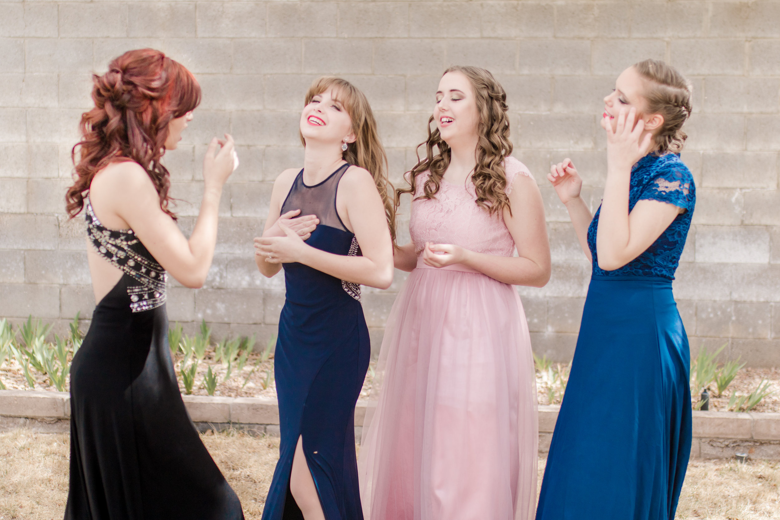 Senior Styled Shoot. Red carpet with glamour hair, makeup and dresses.