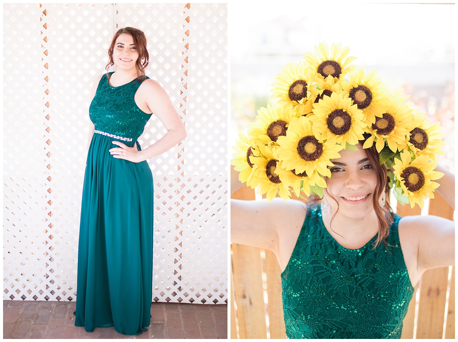 Senior photos with sunflowers and a green prom dress on a swing.