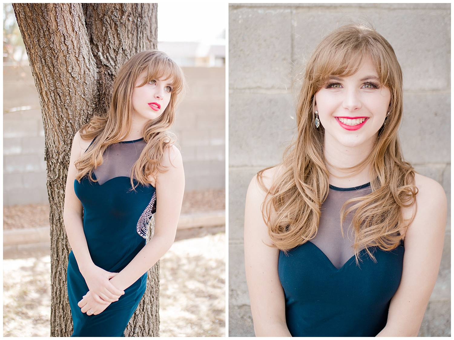 Senior Spokesmodel Team styled shoot. Red carpet hair, make up and dresses. Blue dress and red heels.