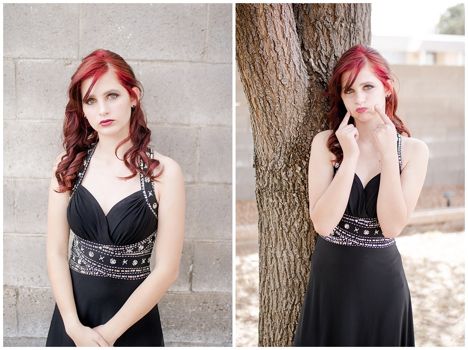 Senior Spokesmodel Team styled shoot. Red carpet hair, make up and dresses. Black dress with red hair