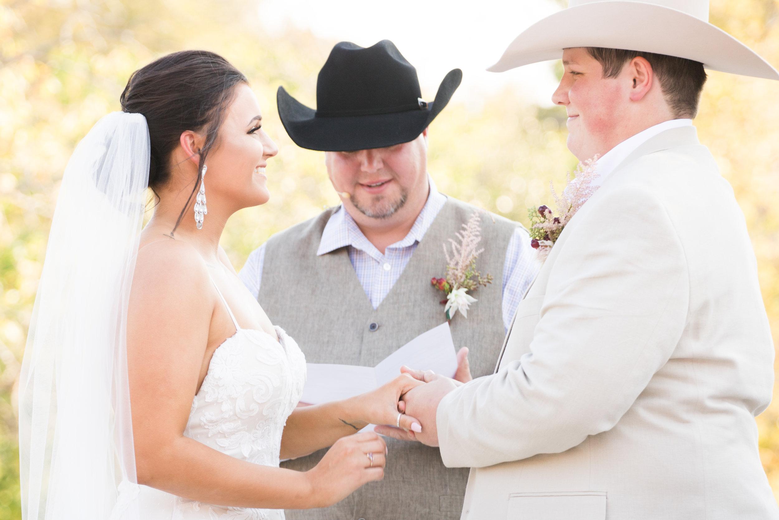 Texas wedding, Hidden Gardens wedding, Country wedding, Custom made dress, cowboy hats.