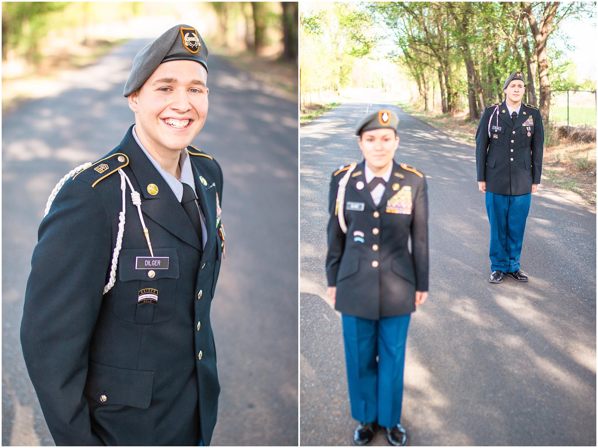 Valencia high school seniors, ROTC uniform, Tree road, 2018 Seniors