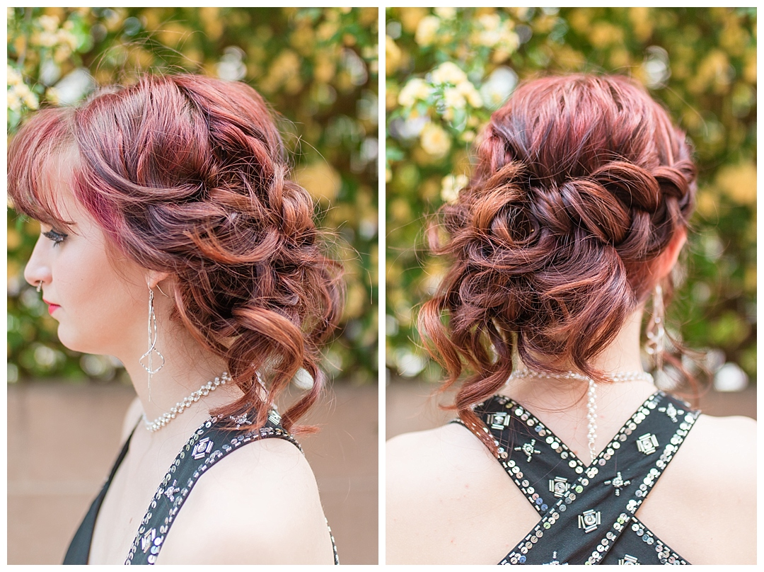 This beautiful braided messy updo was the perfect complement to her dress and personality.